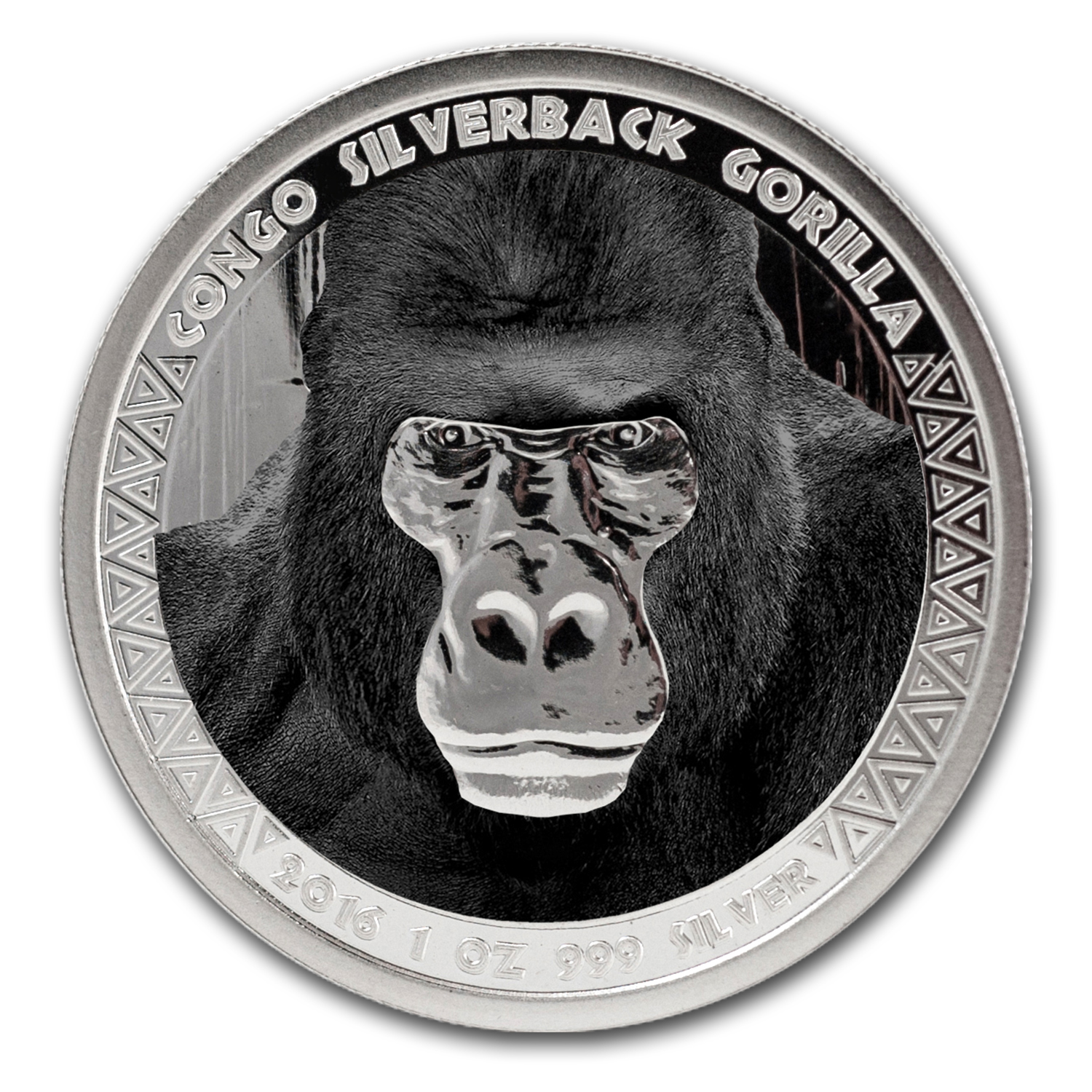 2016 Republic of Congo Silver 1 oz Silverback Gorilla (Colorized)