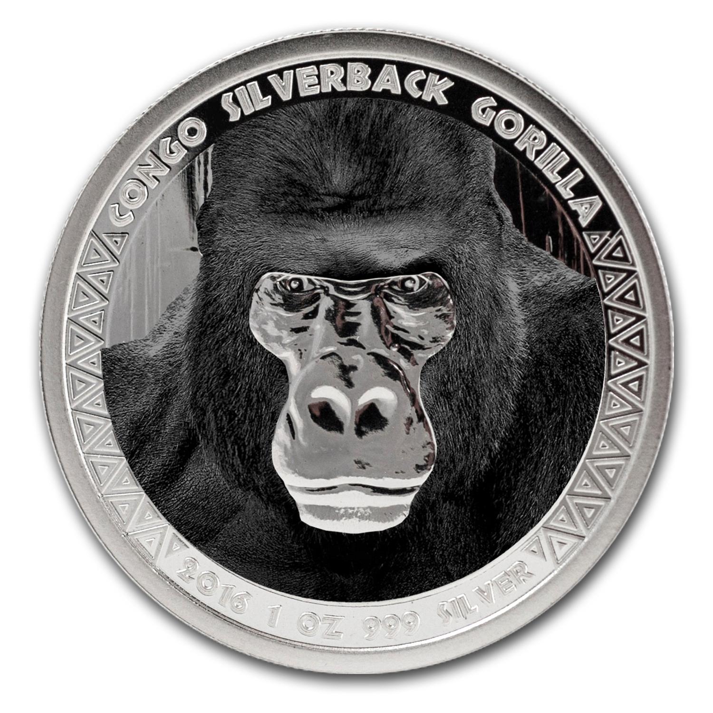 2016 Republic Of Congo Silver 1 Oz Silverback Gorilla