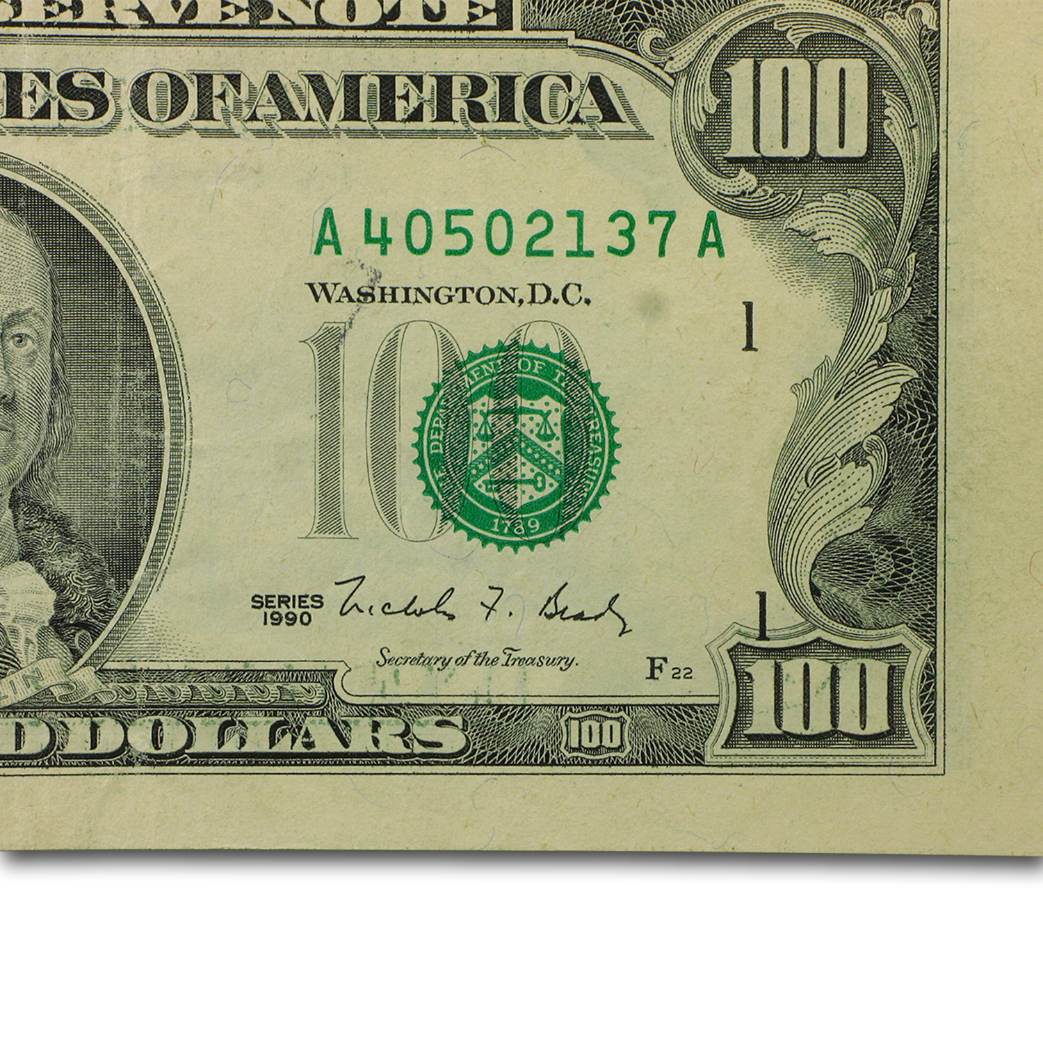 1990 (A-Boston) $100 FRN CU (Misaligned Error)