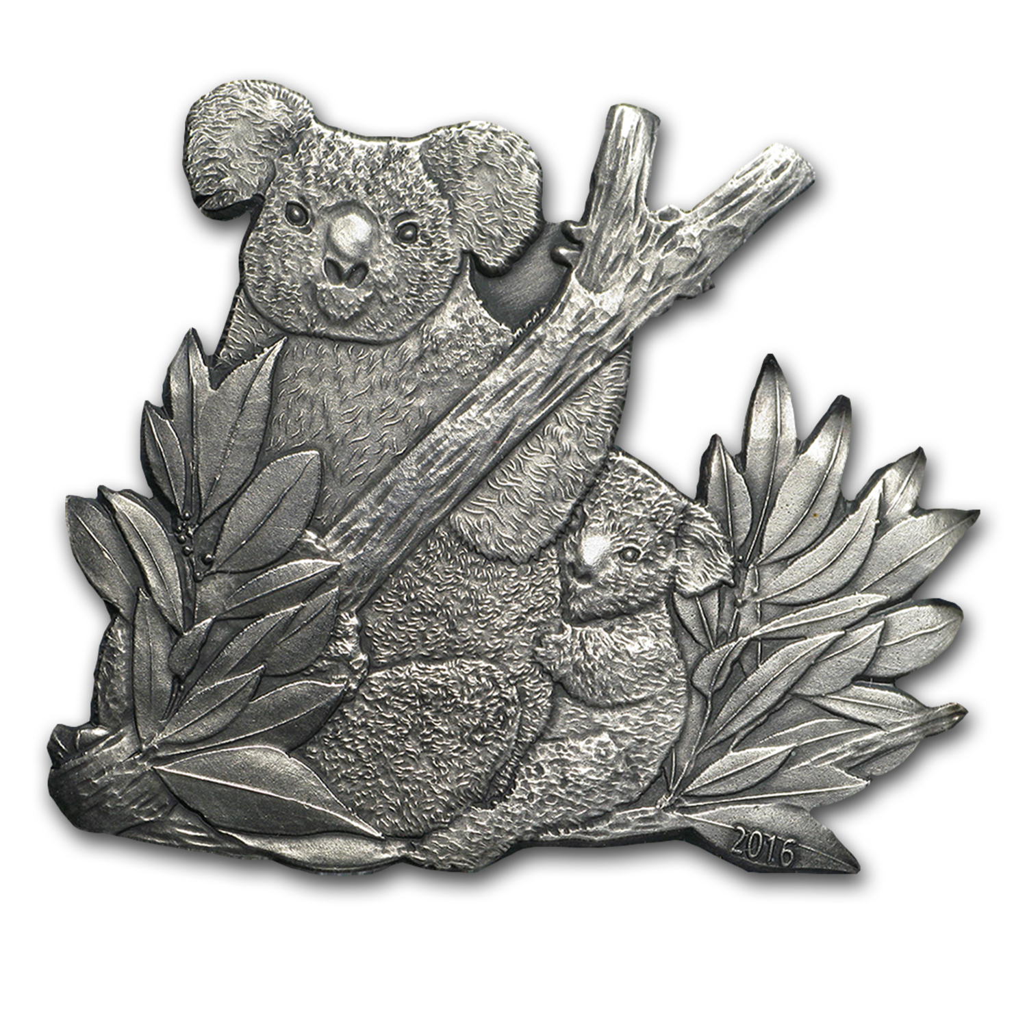 2016 Burkina Faso 1 oz Silver Koala Cut-Out