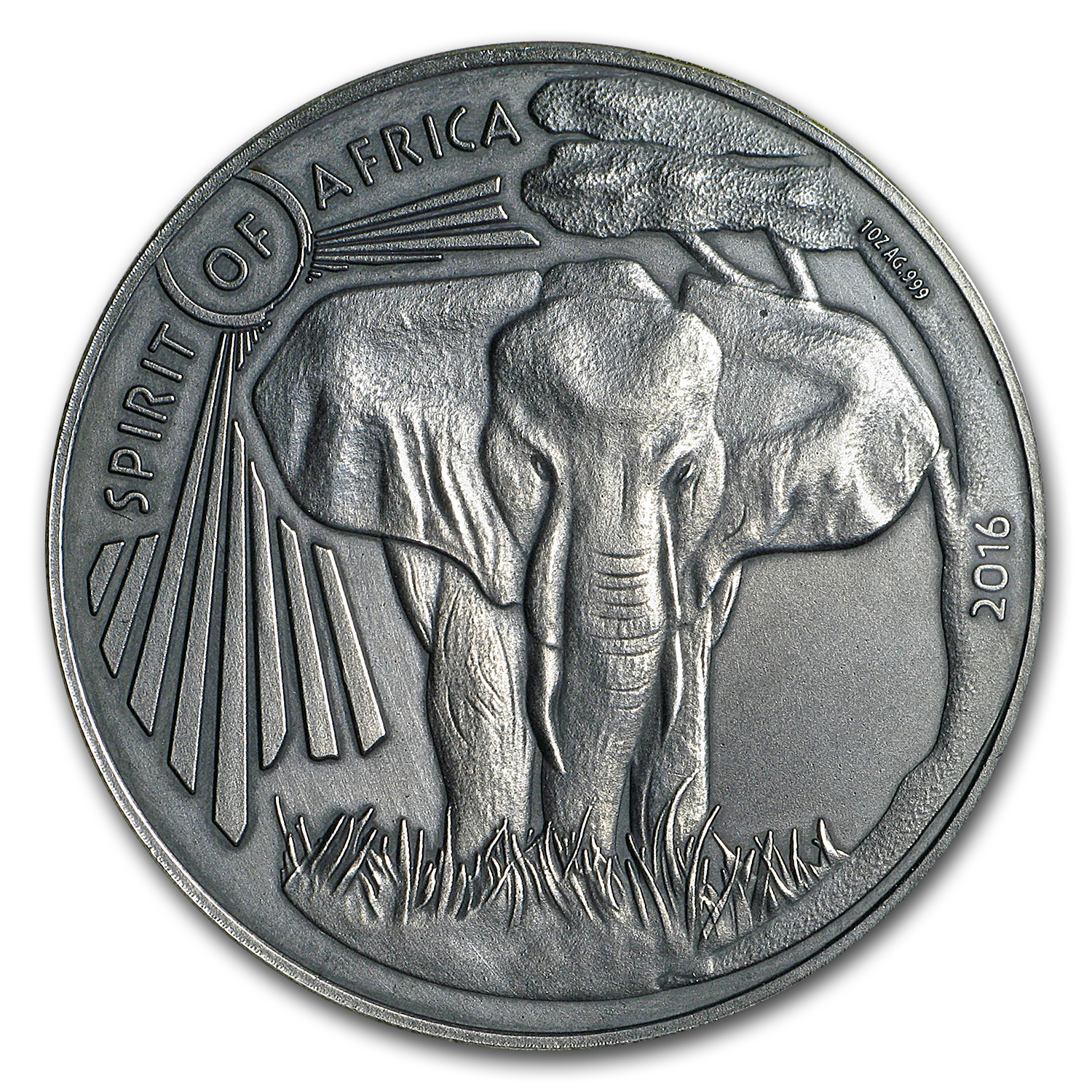 2016 Burkina Faso 1 oz Silver Spirit of Africa Elephant Series 5