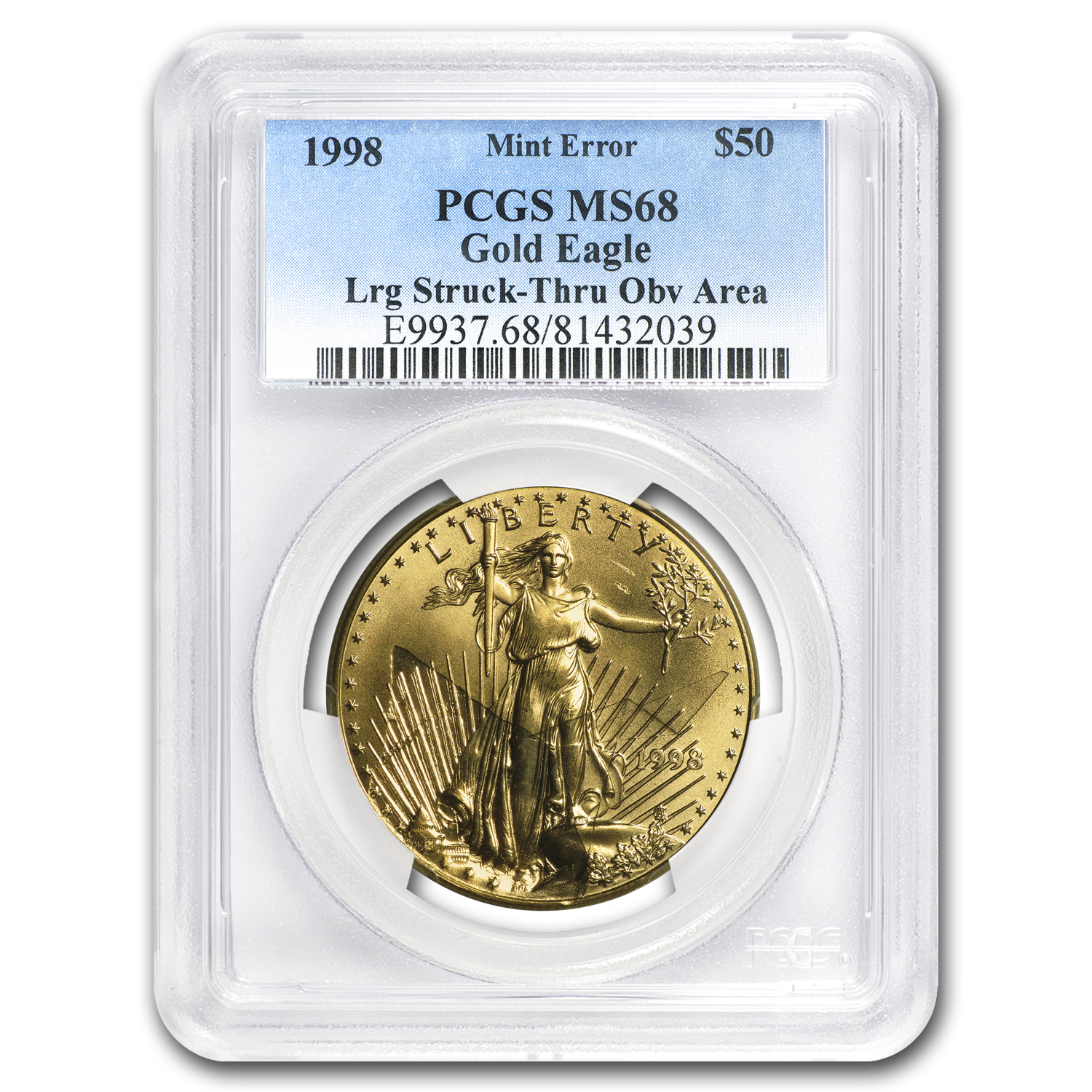 1998 1 oz Gold American Eagle MS-68 PCGS (Obv Mint Error)
