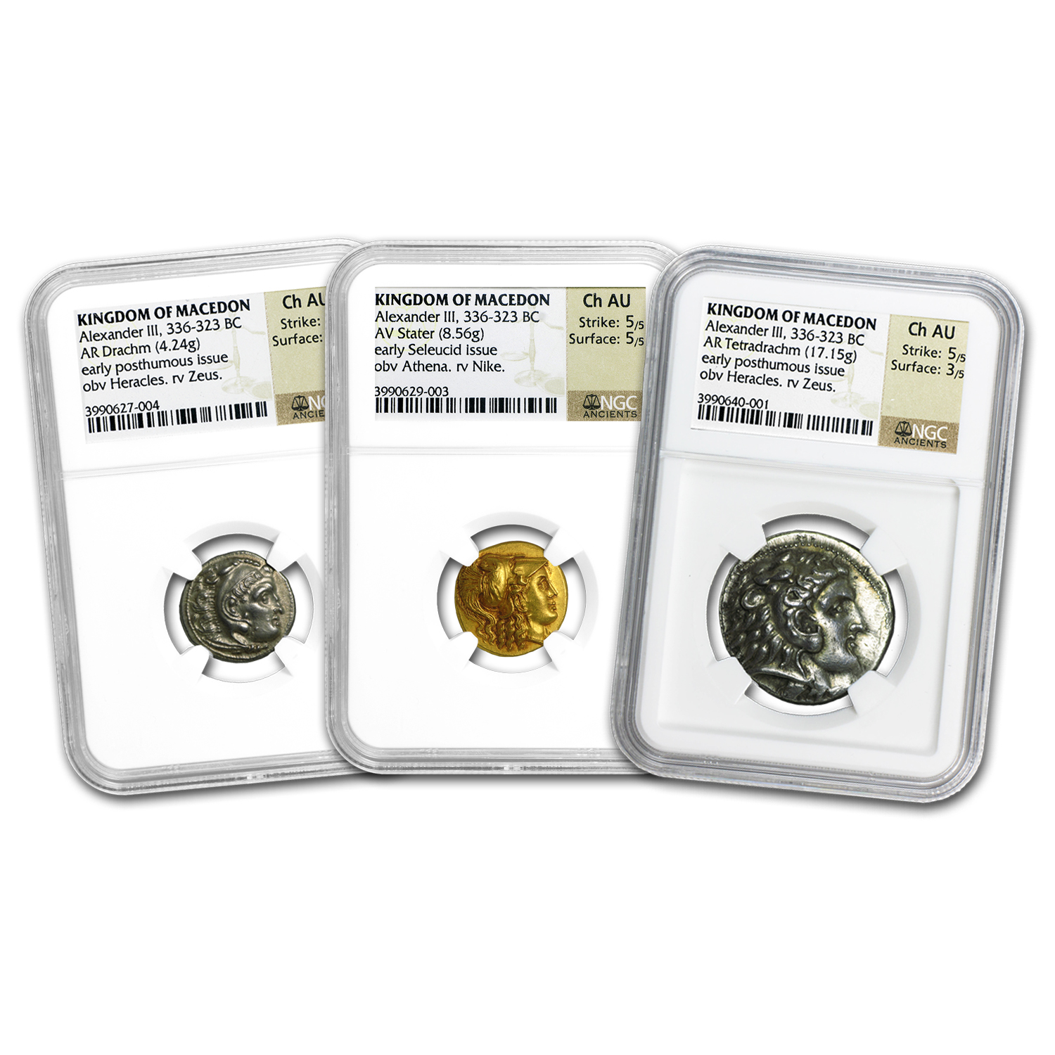 3 Coin Gold & Silver Macedon Alexander III (336-323 BC) CH AU NGC