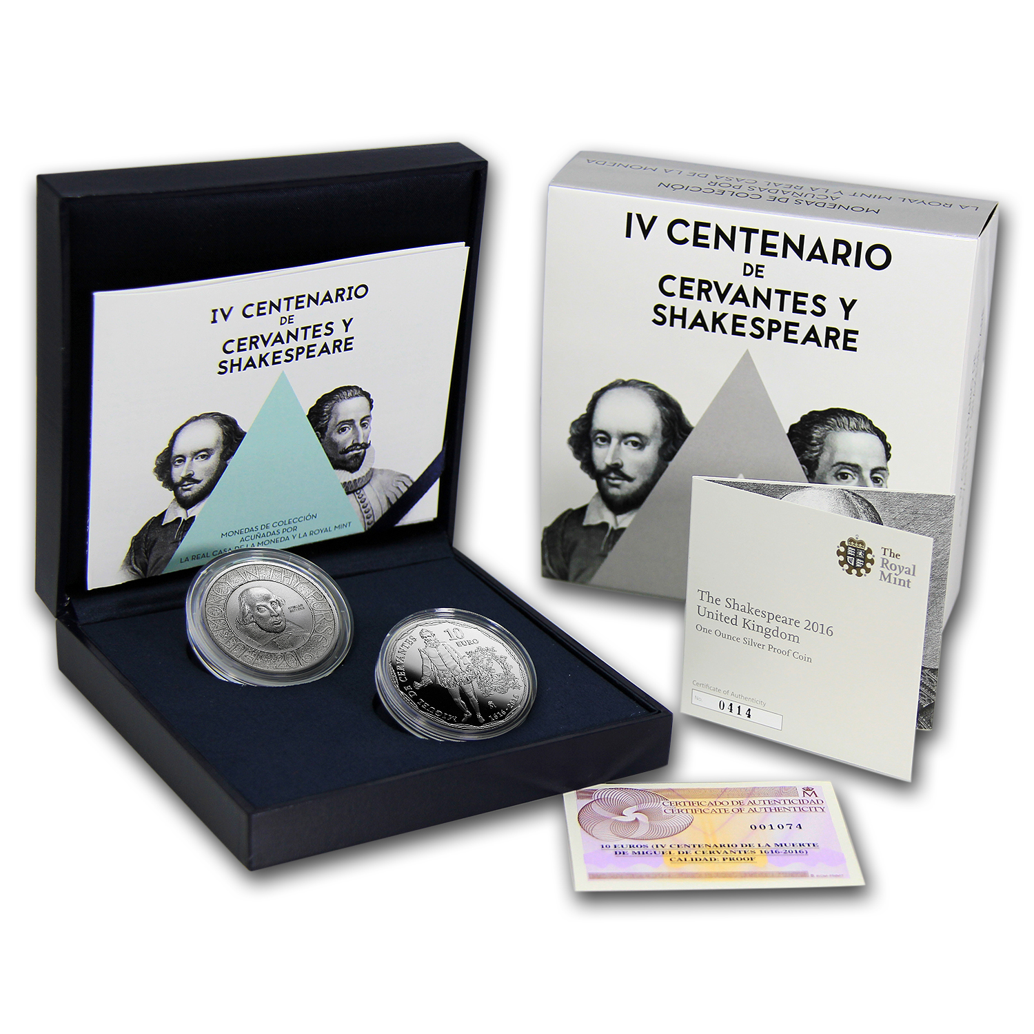 2016 Spain/UK Silver 400th Anniv Shakespeare and Cervantes Set