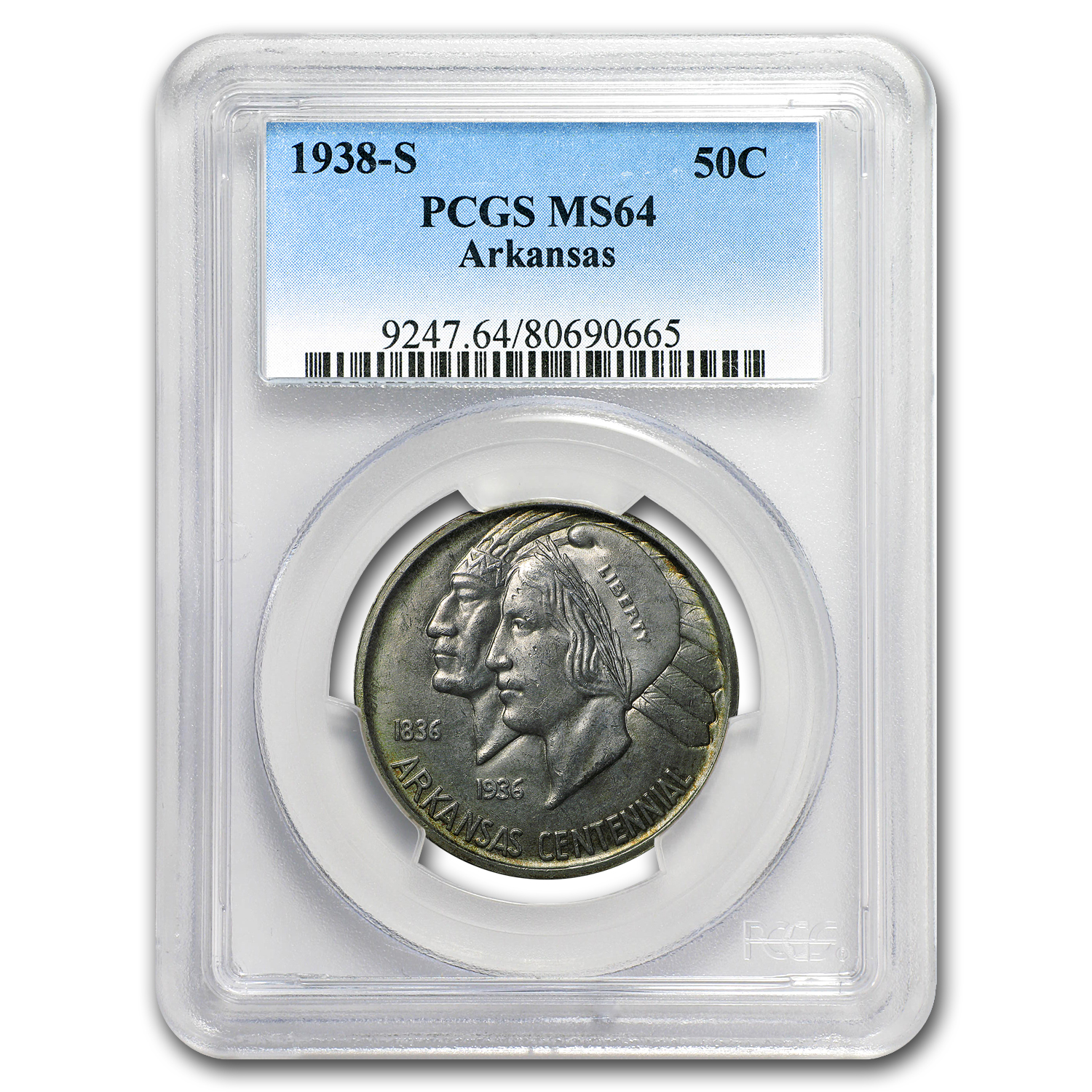 1938-S Arkansas Half Dollar MS-64 PCGS