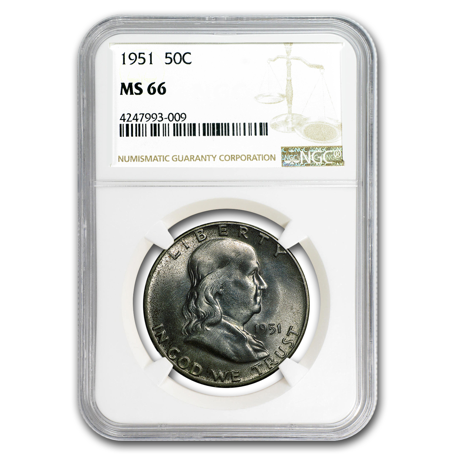 1951 Franklin Half Dollar MS-66 NGC