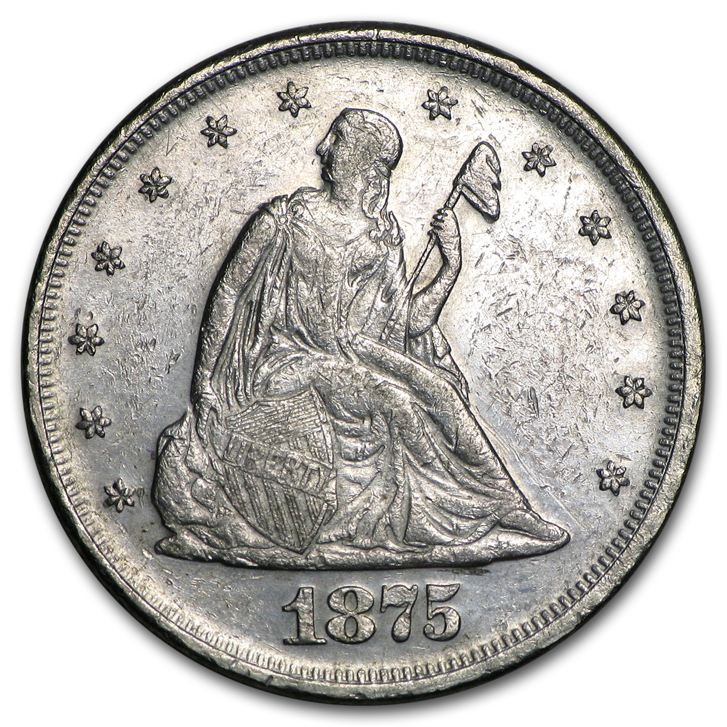 1875 Twenty Cent Piece AU