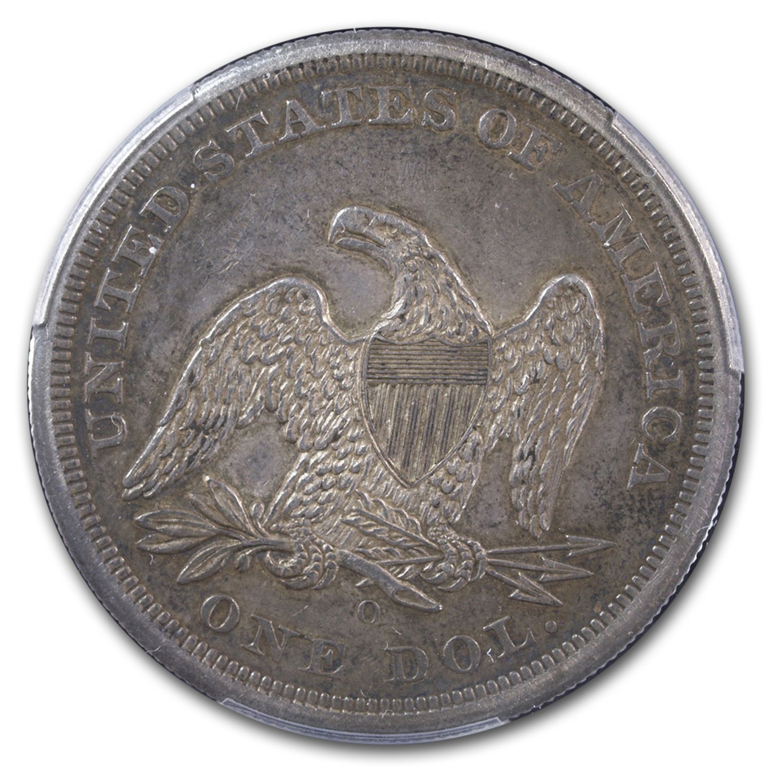 1860-O Liberty Seated Dollar AU-50 PCGS