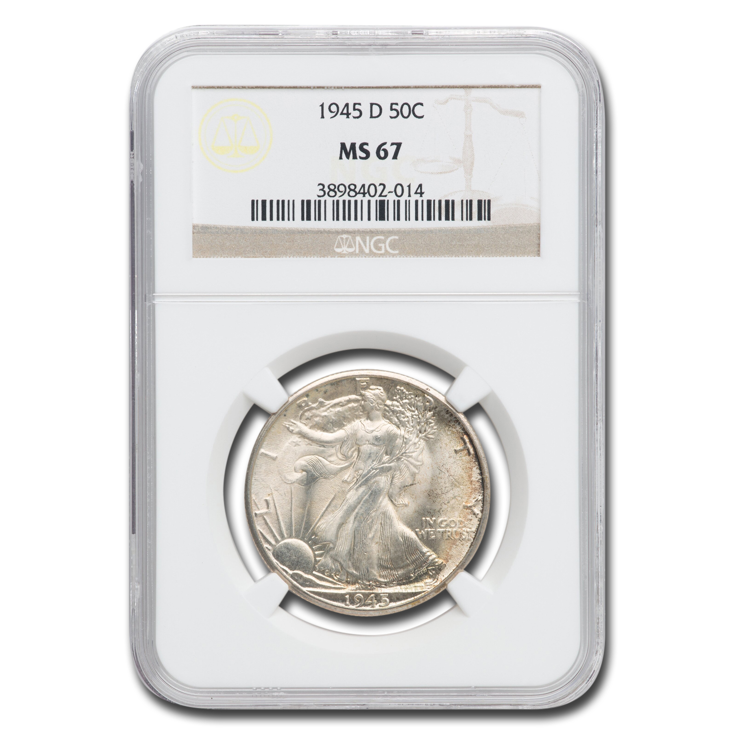 1945-D Walking Liberty Half Dollar MS-67 NGC