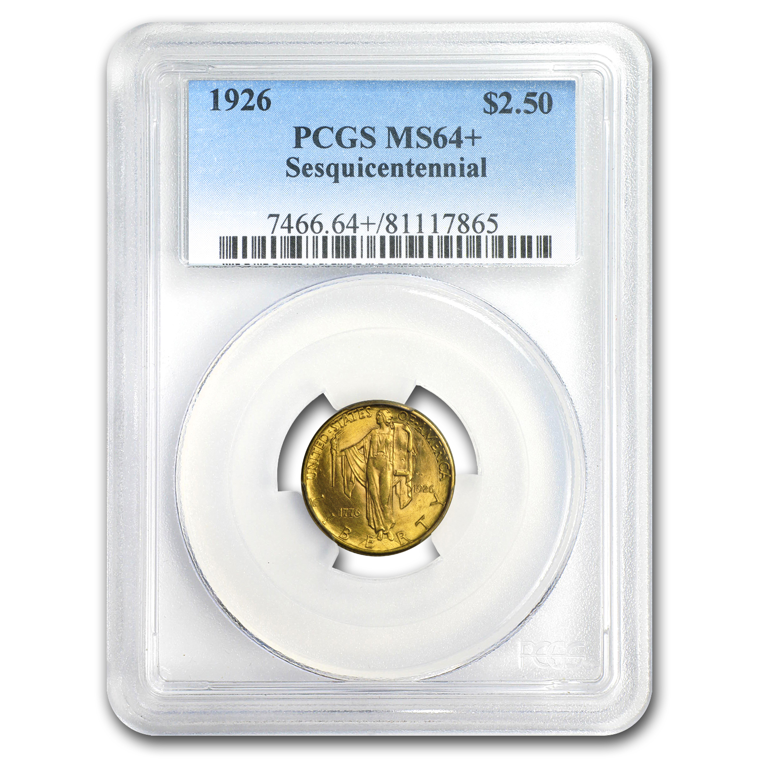 1926 Gold $2.50 America Sesquicentennial MS-64+ PCGS