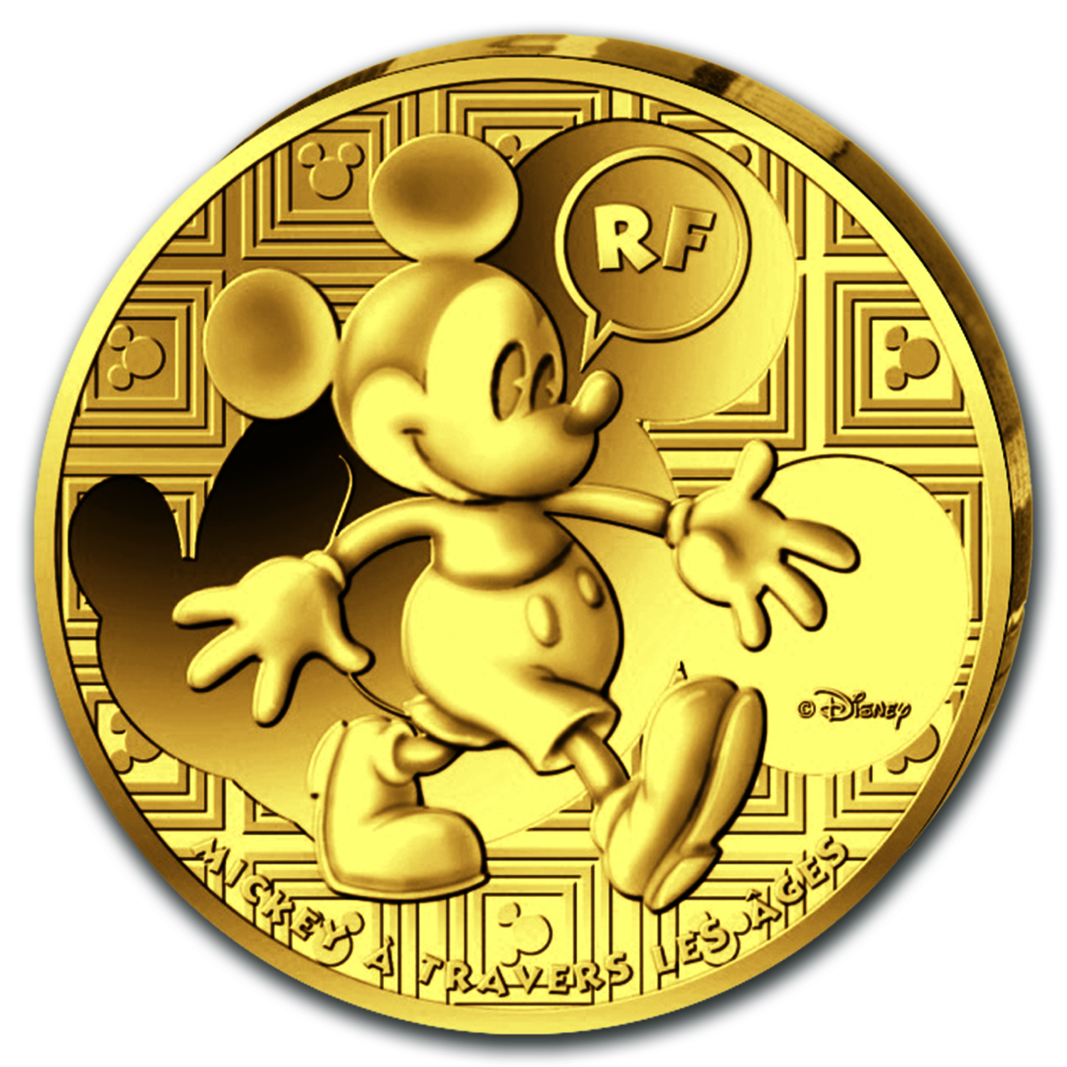 2016 France 1/4 oz Proof Gold Mickey Through the Ages