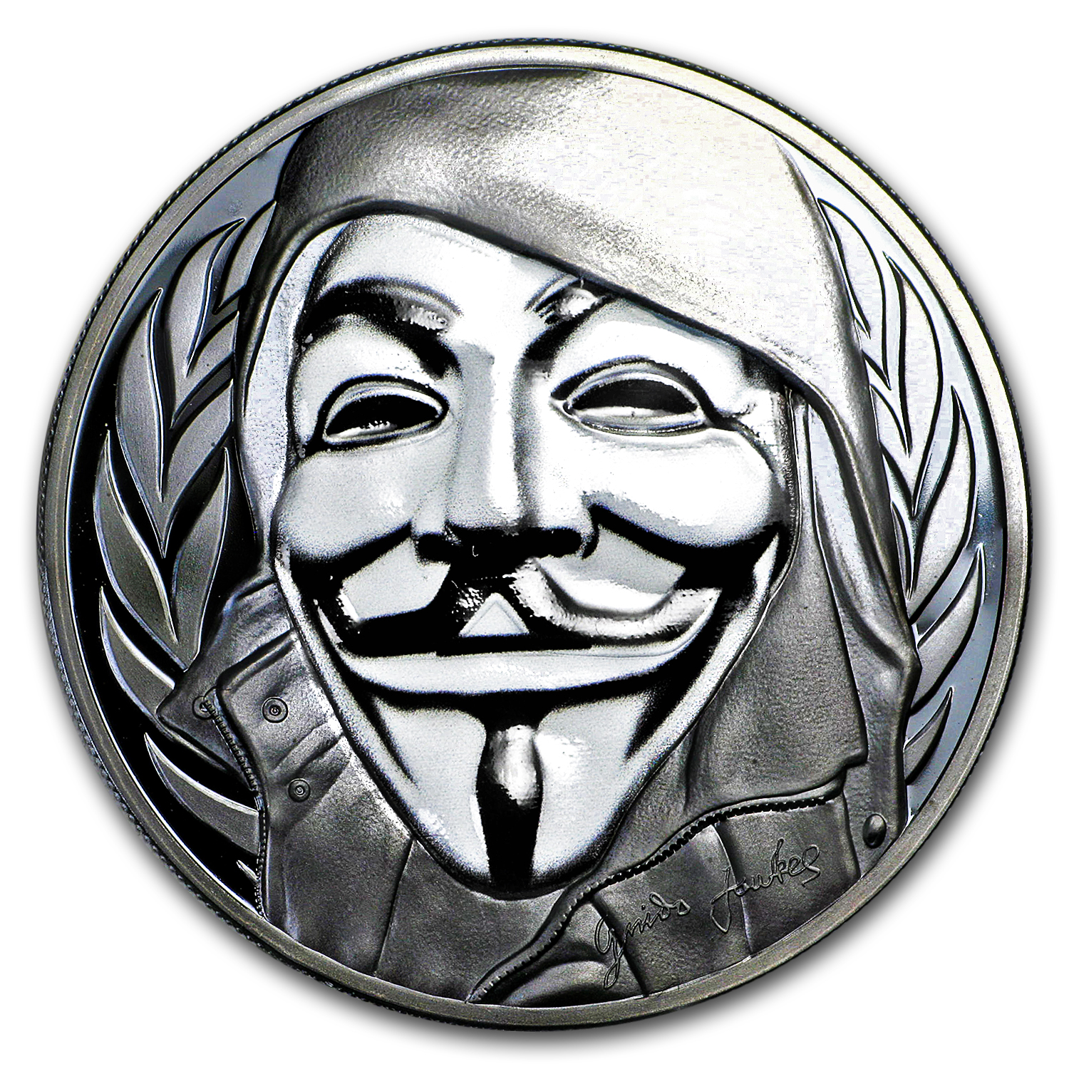 2016 Cook Islands 1 oz Silver $5 Guy Fawkes Mask
