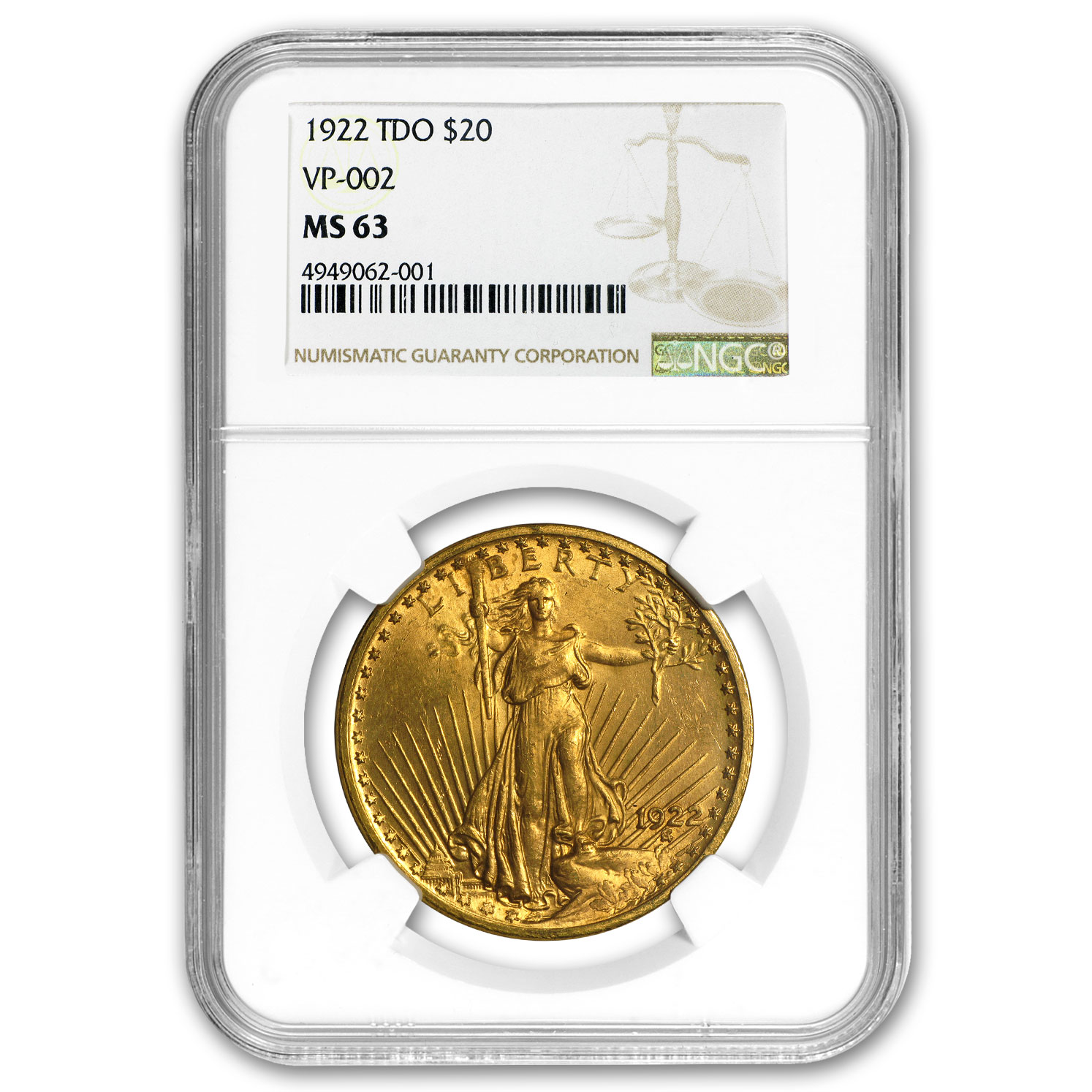 1922 $20 St. Gaudens Gold Double Eagle MS-63 NGC (TDO VP-002)