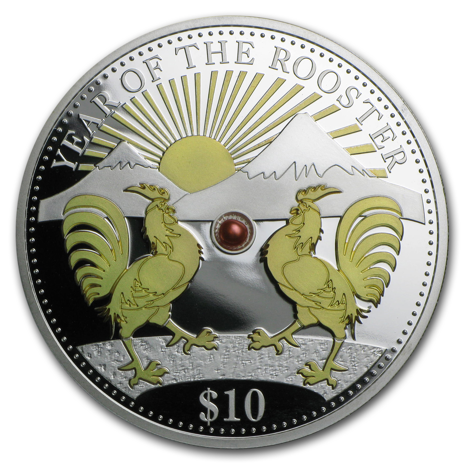 2017 Fiji 1 oz Silver Year of the Rooster (Gold Gilded w/Pearl)