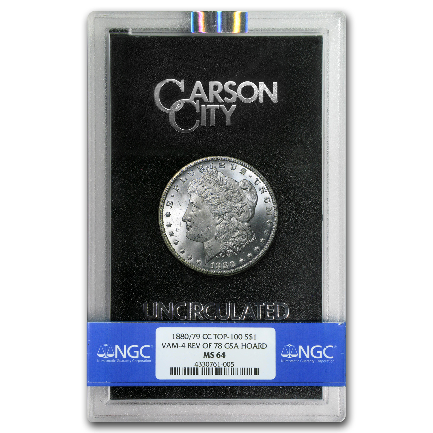 1880/79-CC Morgan Dollar MS-64 NGC (GSA, Top-100 VAM-4)