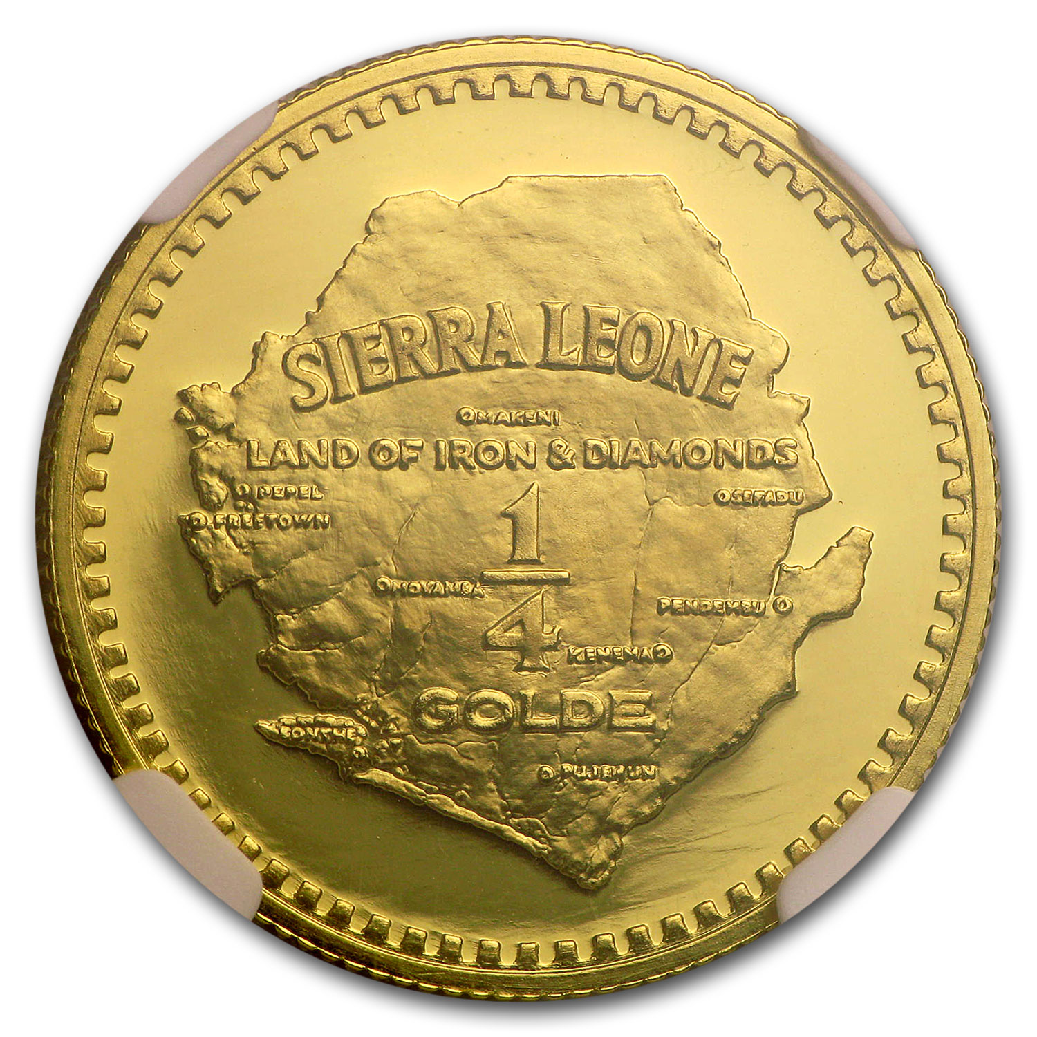 1966 Sierra Leone Gold 1/4 Golde Lion Head PF-69 NGC