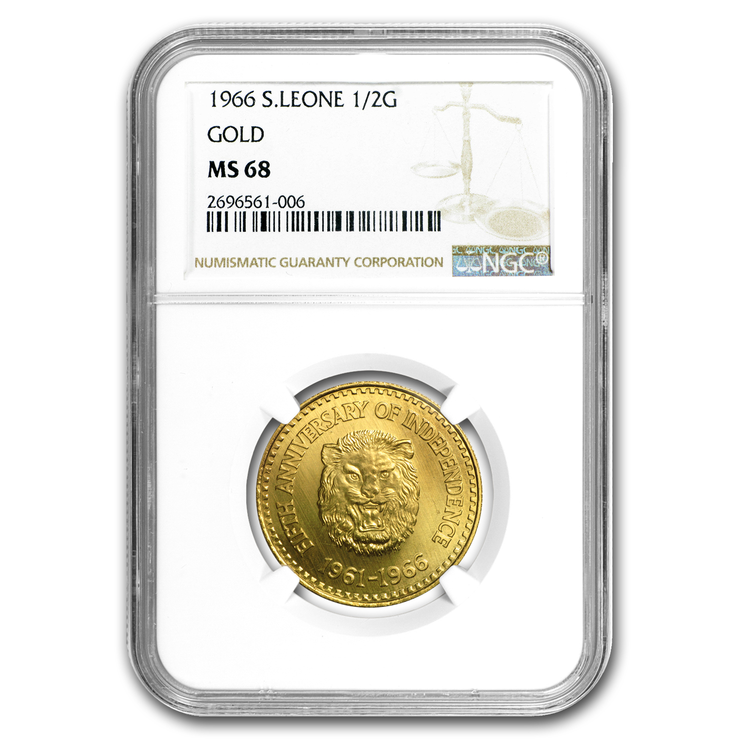 1966 Sierra Leone Gold 1/2 Golde Lion Head MS-68 NGC