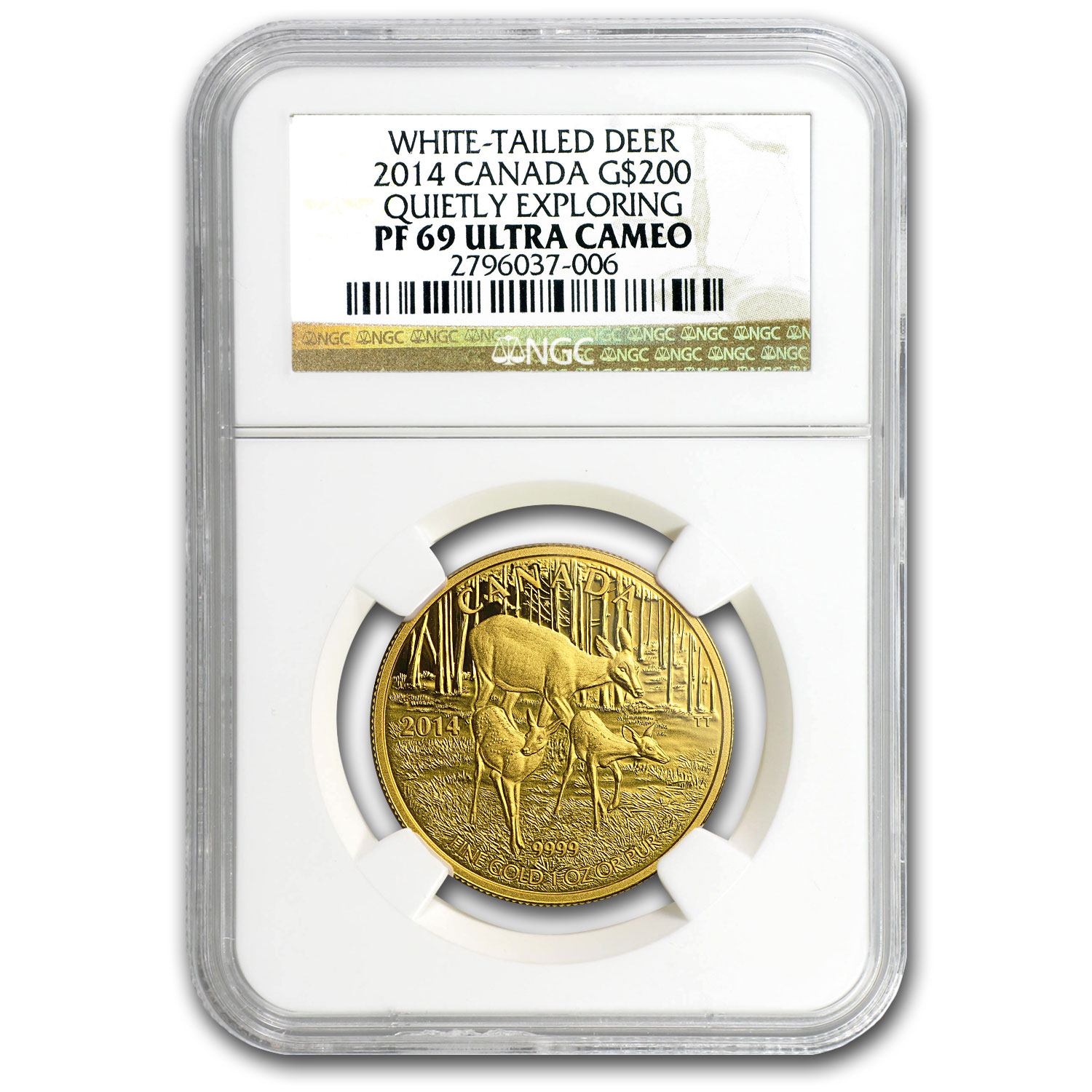 2014 Canada 1 oz Proof Gold $200 White-Tailed Deer PF-69 NGC