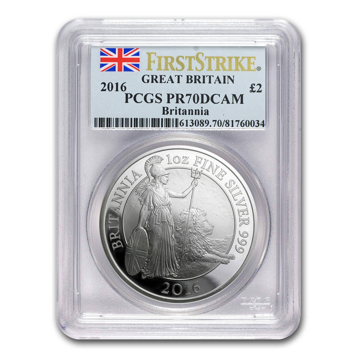 2016 Great Britain 1 oz Proof Silver Britannia PR-70 PCGS (FS)