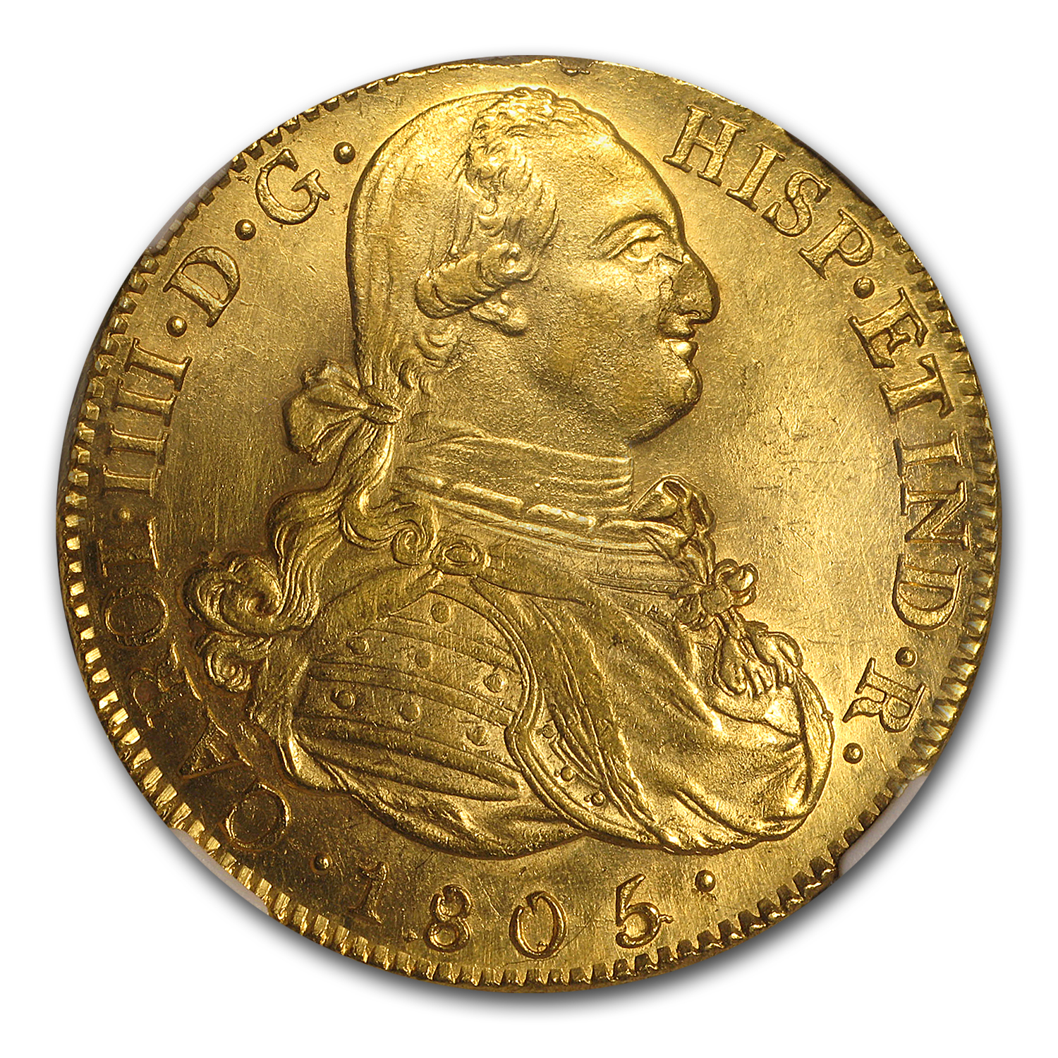1805 P-JT Colombia Gold 8 Escudos Charles IV MS-61 NGC
