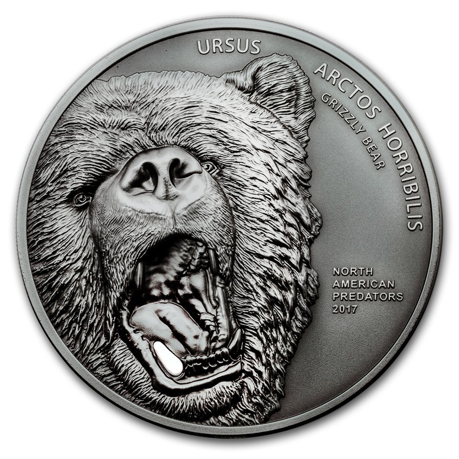 2017 Cook Islands 2 oz North American Predators Grizzly Bear