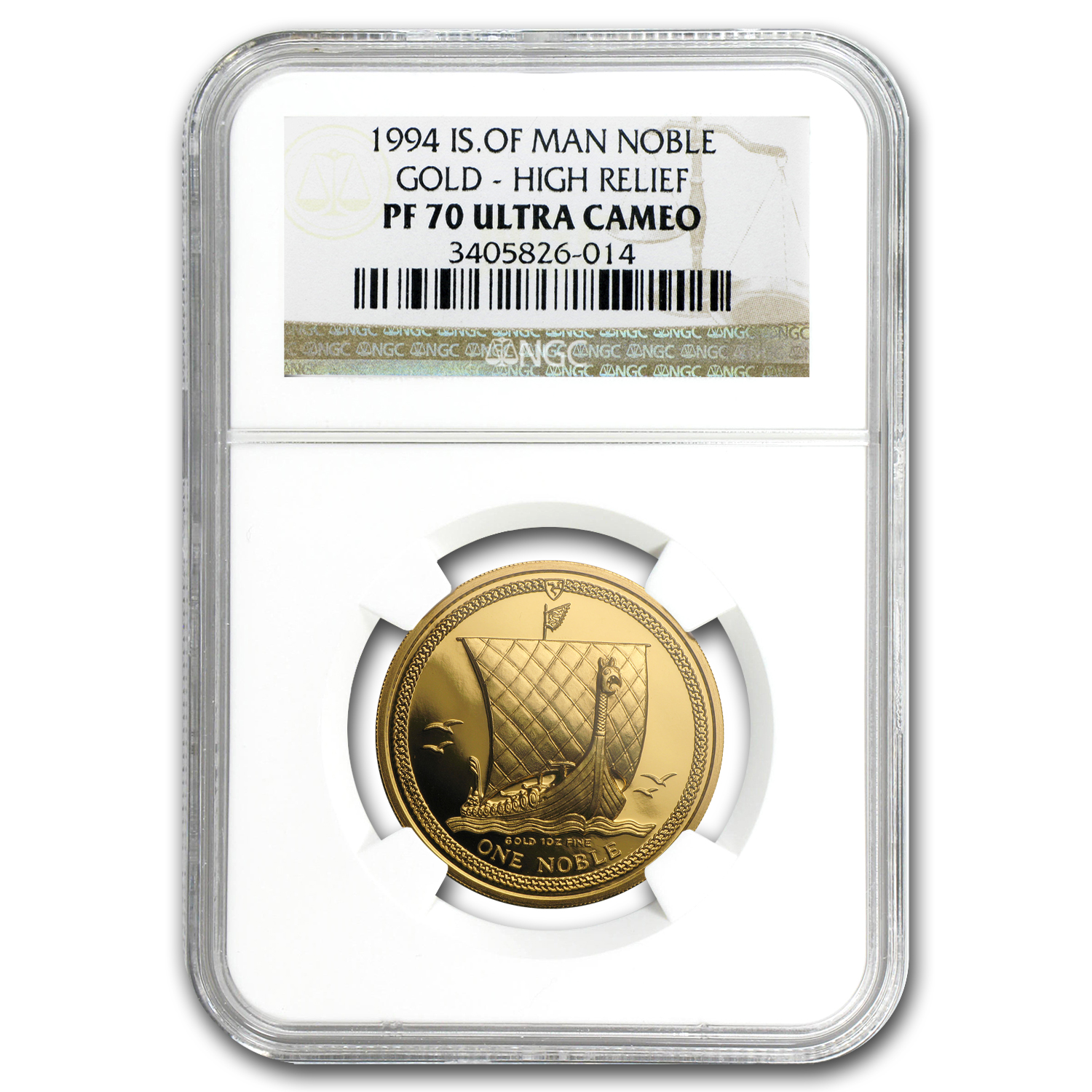 1994 Isle of Man 1 oz Proof Gold Noble High Relief PF-70 NGC