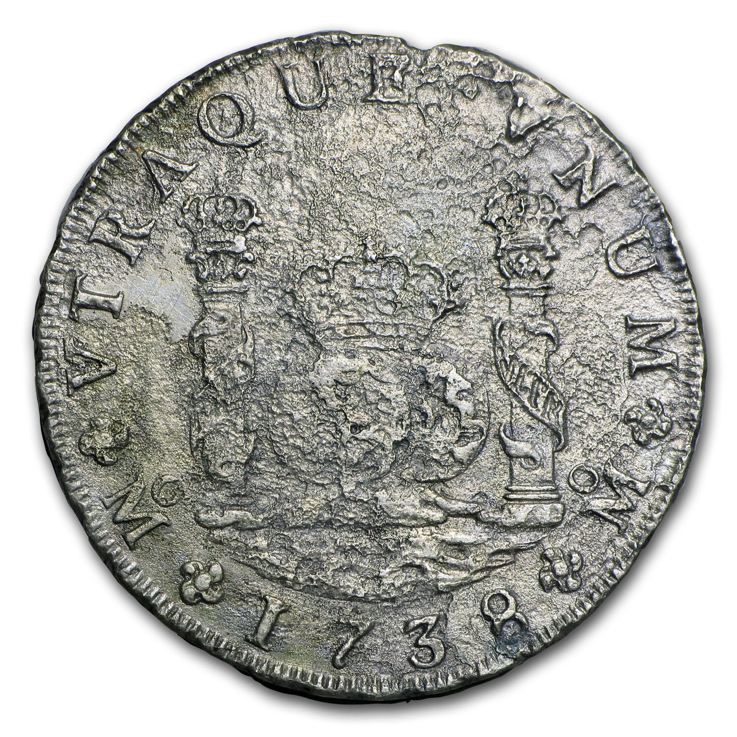 1738 Mo-MF Mexico Silver 8 Reales Pillar Dollar