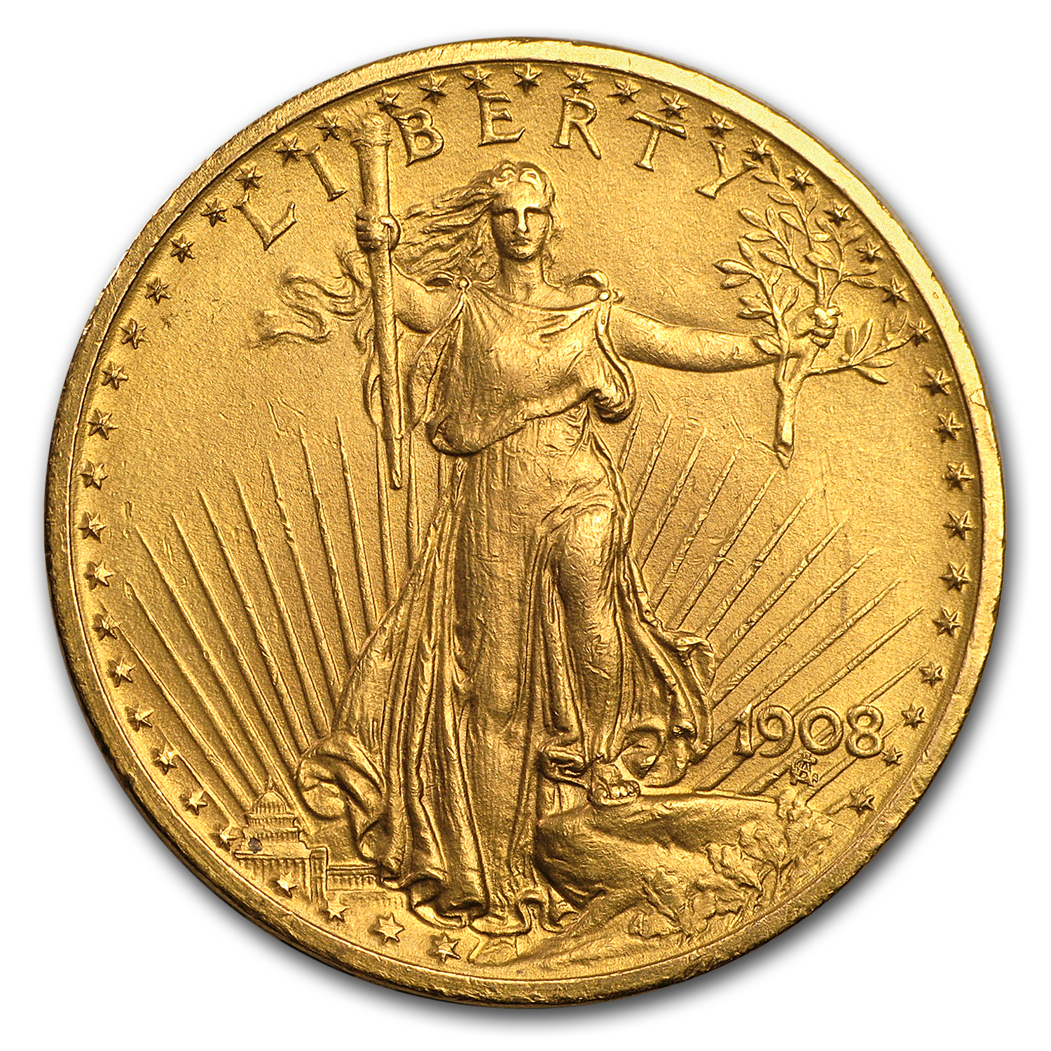 1908 20 St Gaudens Gold Double Eagle No Motto Cleaned