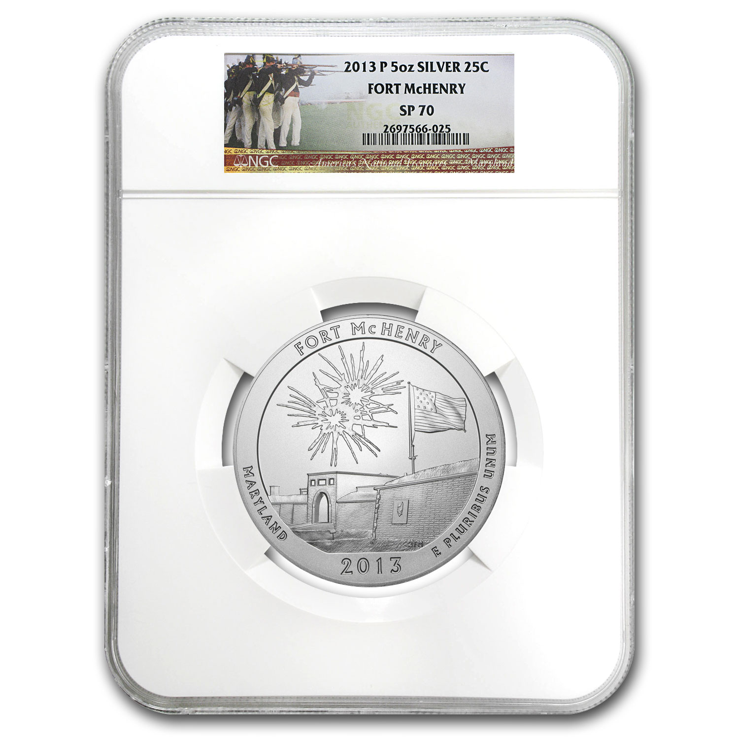 2013-P 5 oz Silver ATB Fort McHenry SP-70 NGC