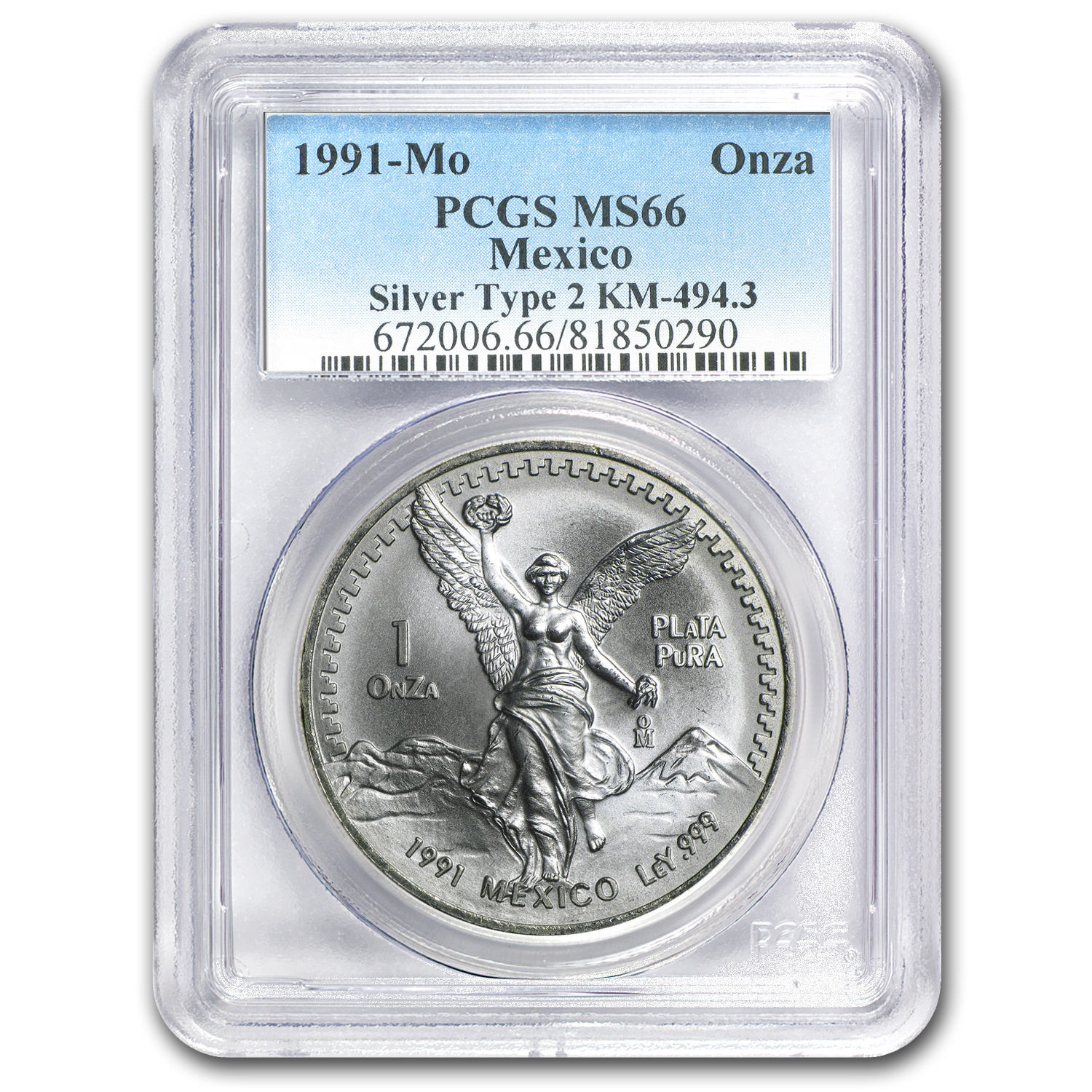 1991 Mexico 1 oz Silver Libertad Type 2 MS-66 PCGS