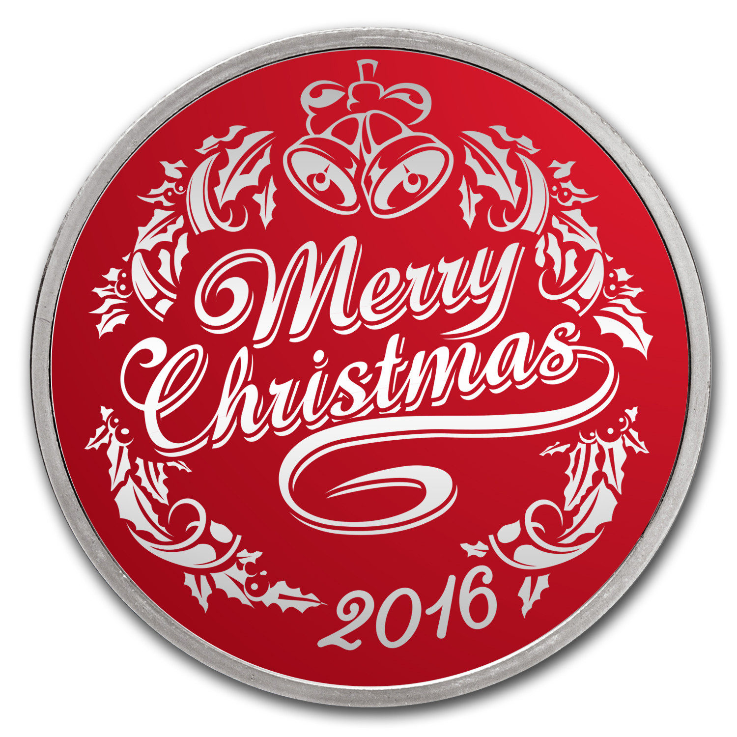 1 Oz Silver Holiday Round Rosy Red Christmas Christmas