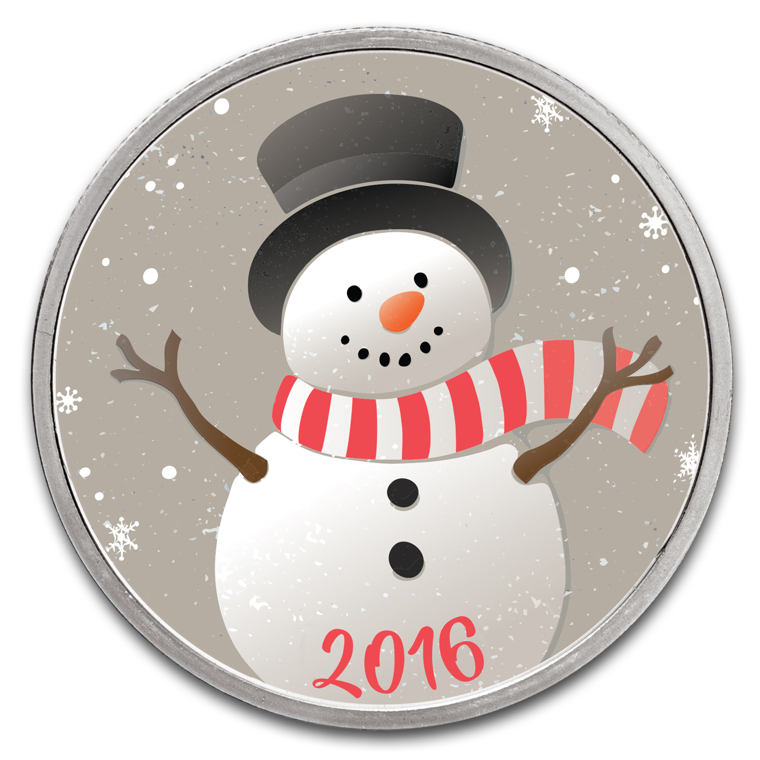 1 oz Silver Colorized Round - APMEX (Smiling Snowman)