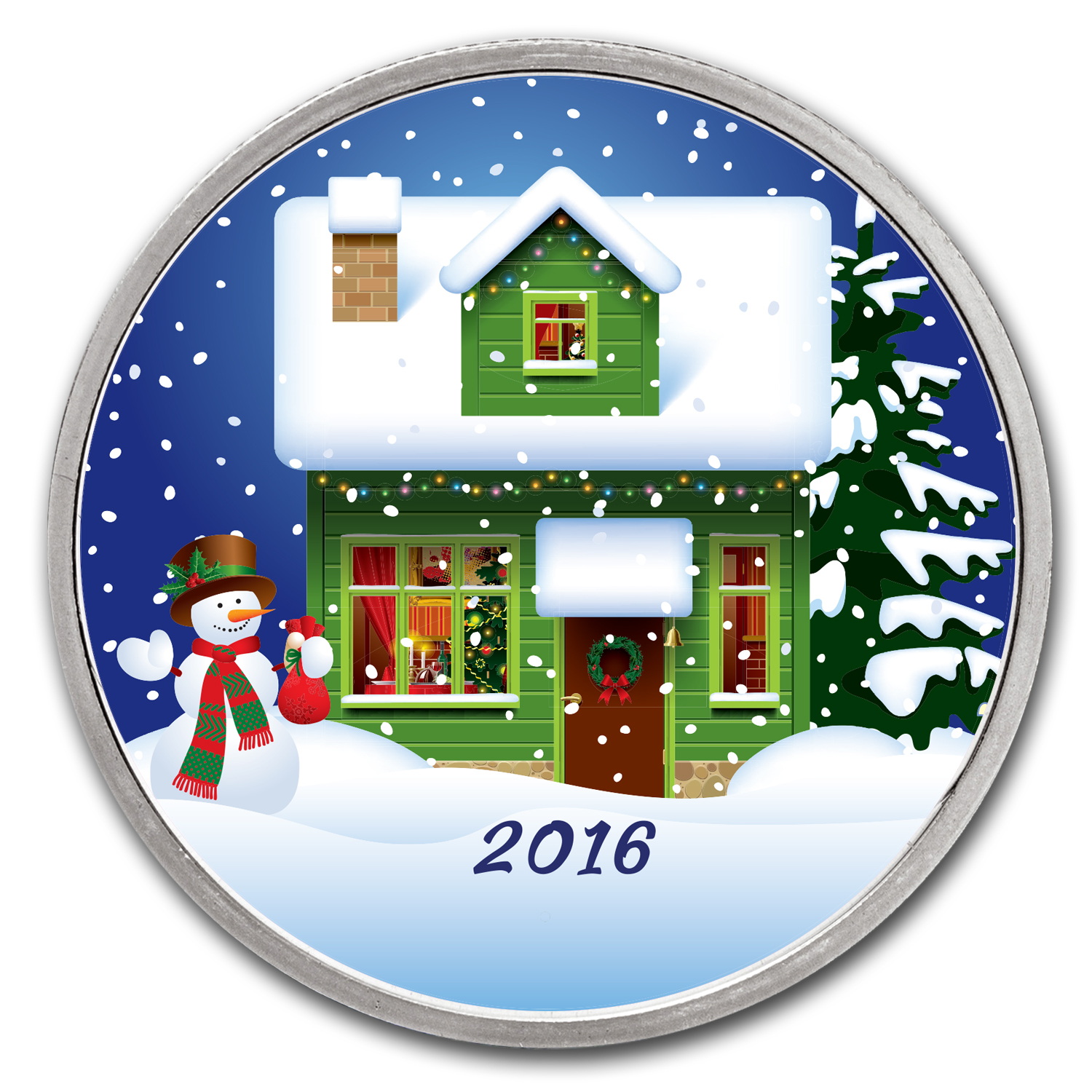 1 oz Silver Colorized Round - APMEX (Cozy Christmas Night)