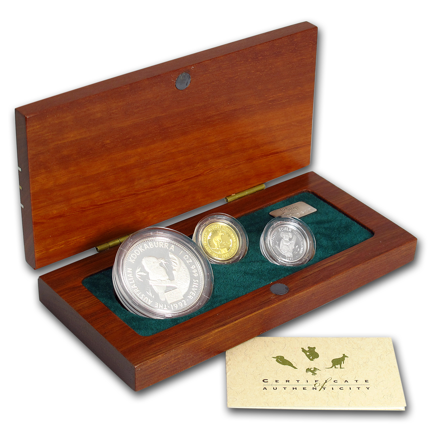 1992 Australia 3-Coin Family of Precious Metals Proof Set Privy