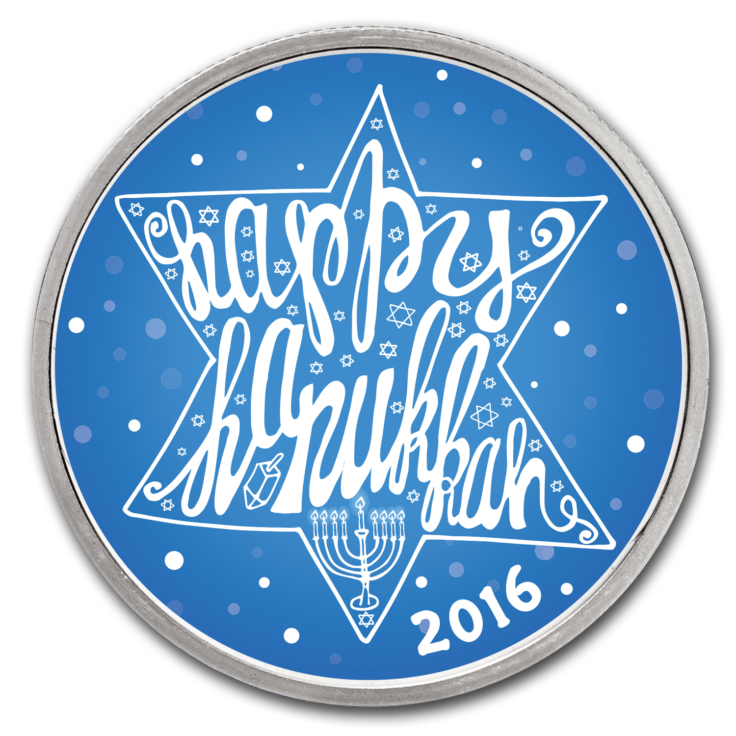 1 oz Silver Colorized Round - APMEX (Hanukkah Star of David)