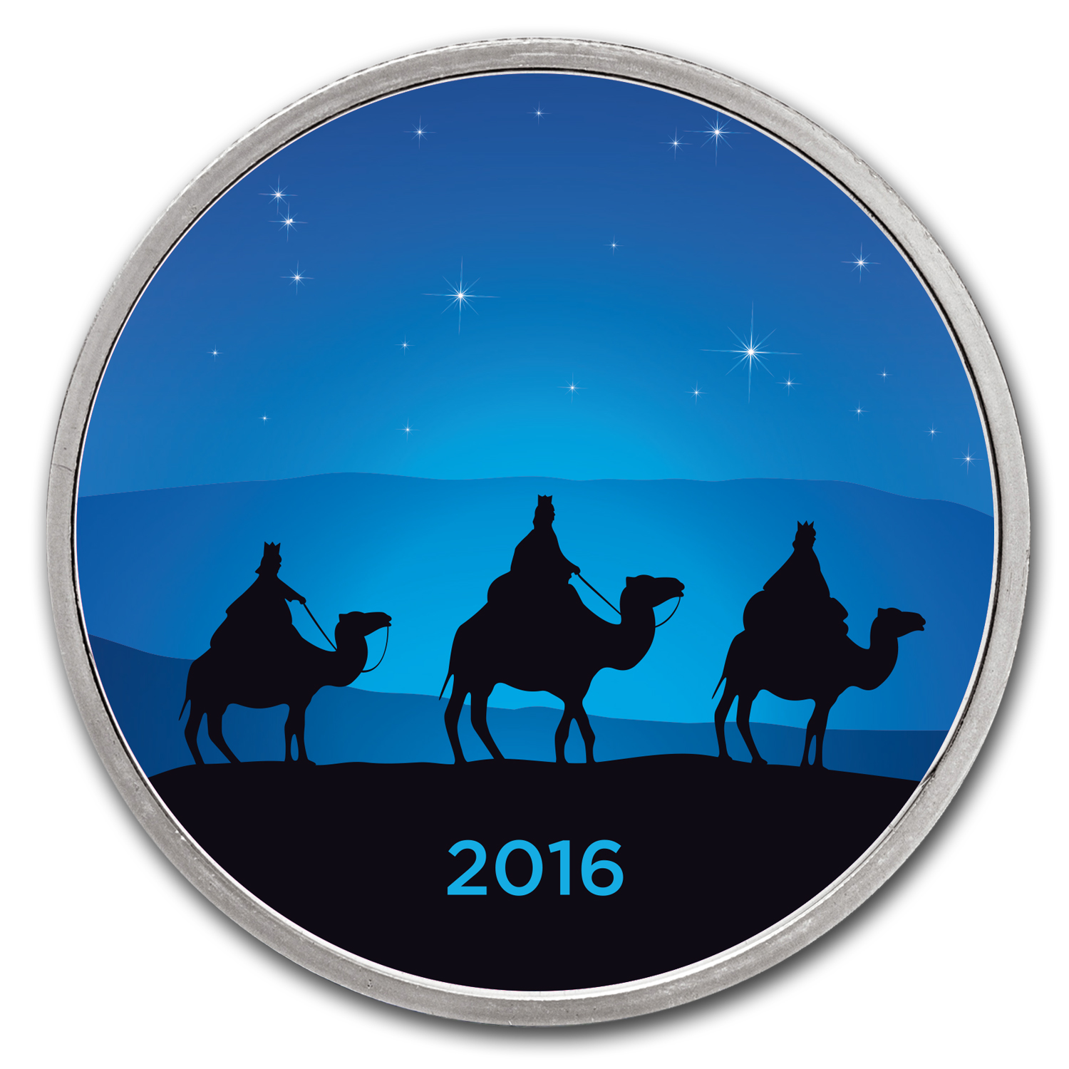 1 oz Silver Colorized Round - APMEX (3 Wise Men - Sapphire Night)