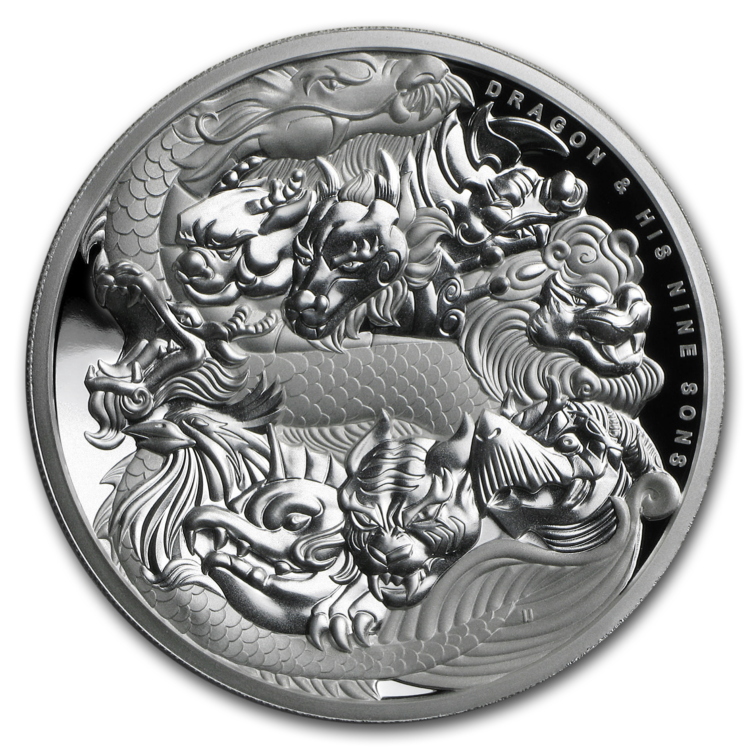 2016 Tuvalu 5 oz Silver Dragon and His Nine Sons High Relief Prf