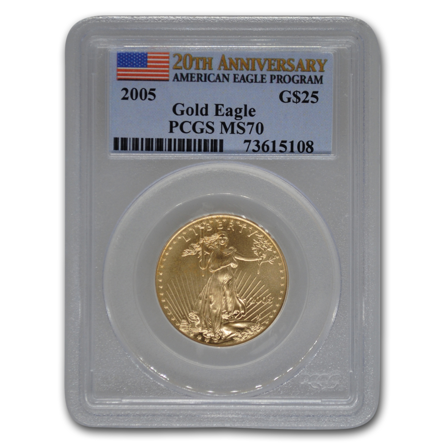 2005 1/2 oz Gold American Eagle MS-70 PCGS (20th Anniv)