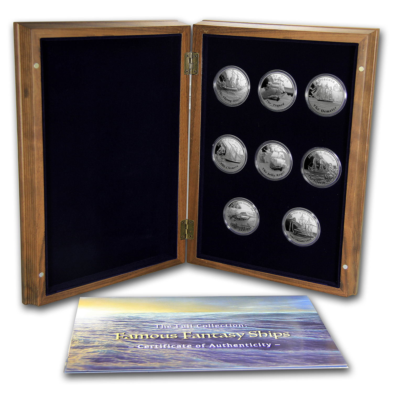 2016 Tuvalu 8-Coin Silver Fantasy Ships Proof Set