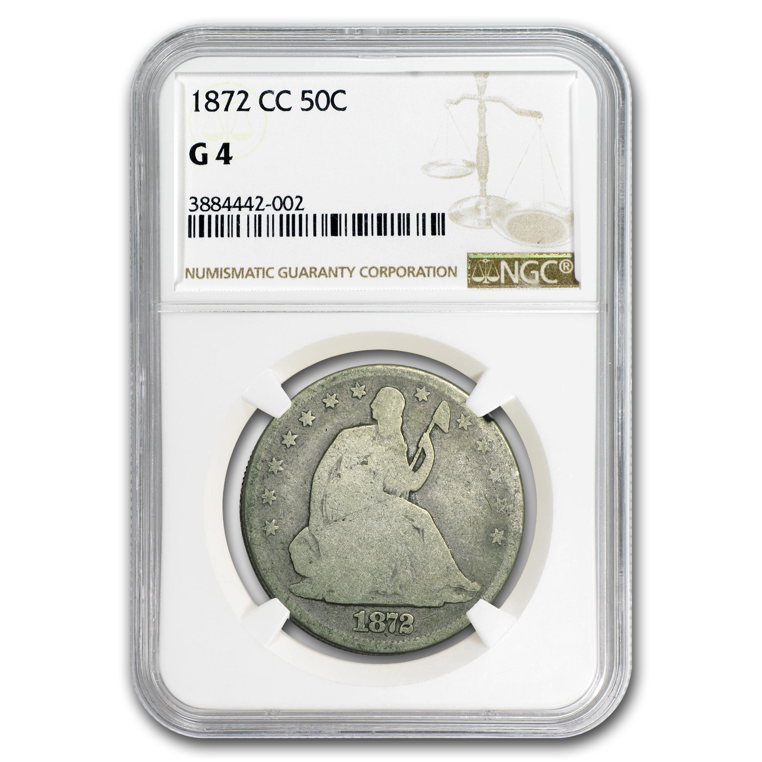 1872-CC Liberty Seated Half Dollar Good-4 NGC