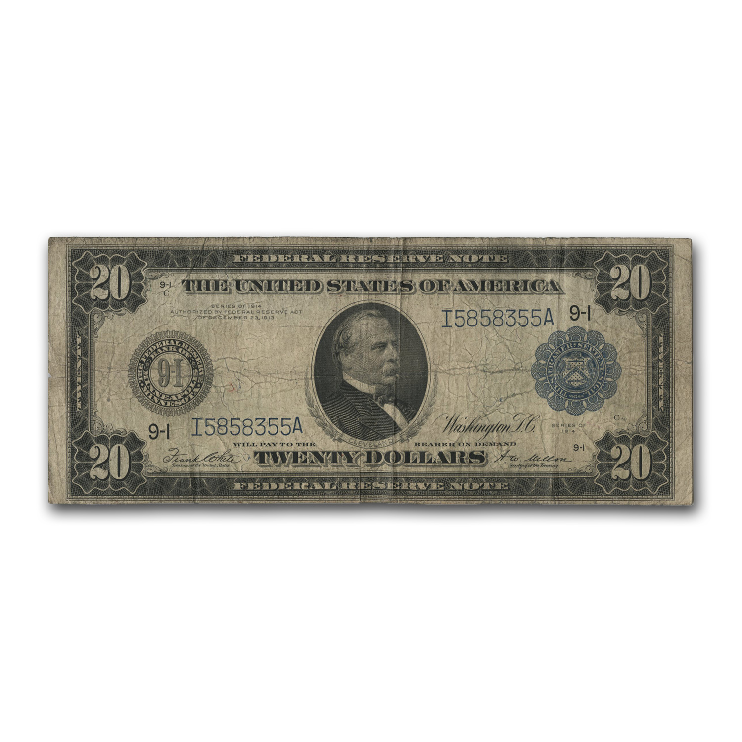 1914 (I-Minneapolis) $20 FRN VG/F