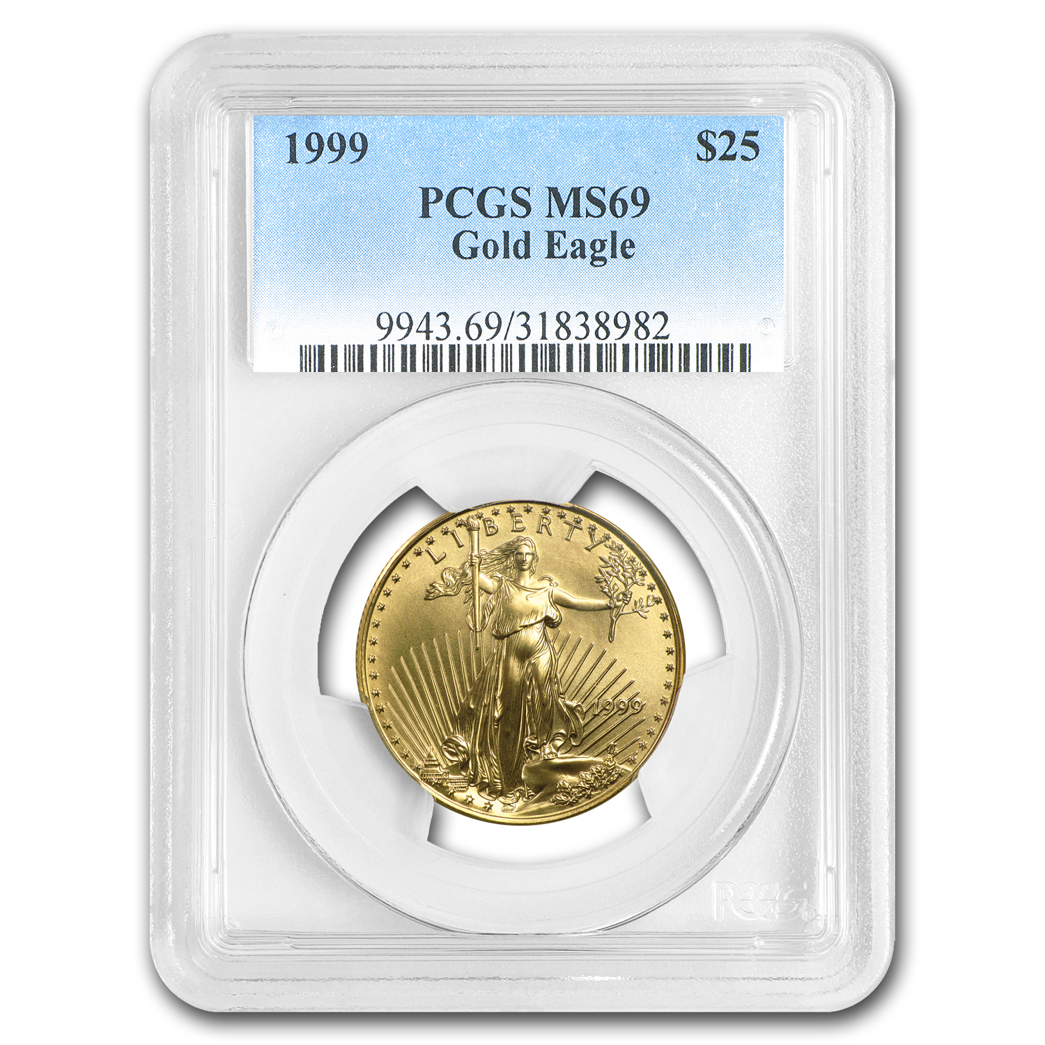 1999 1/2 oz Gold American Eagle MS-69 PCGS