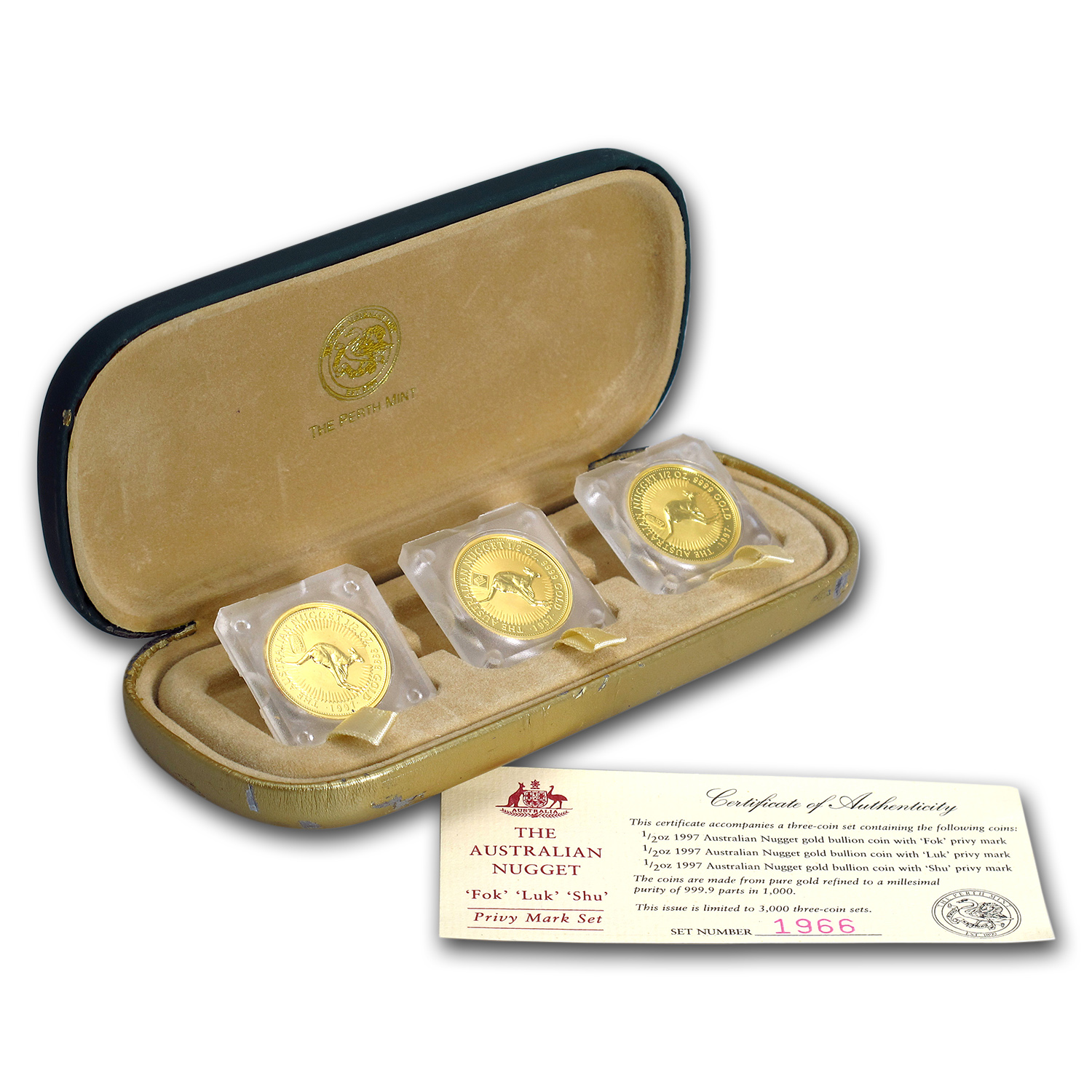 1997 Australia 3-Coin 1/2 oz Gold Nugget BU Privy Set (Box&COA)