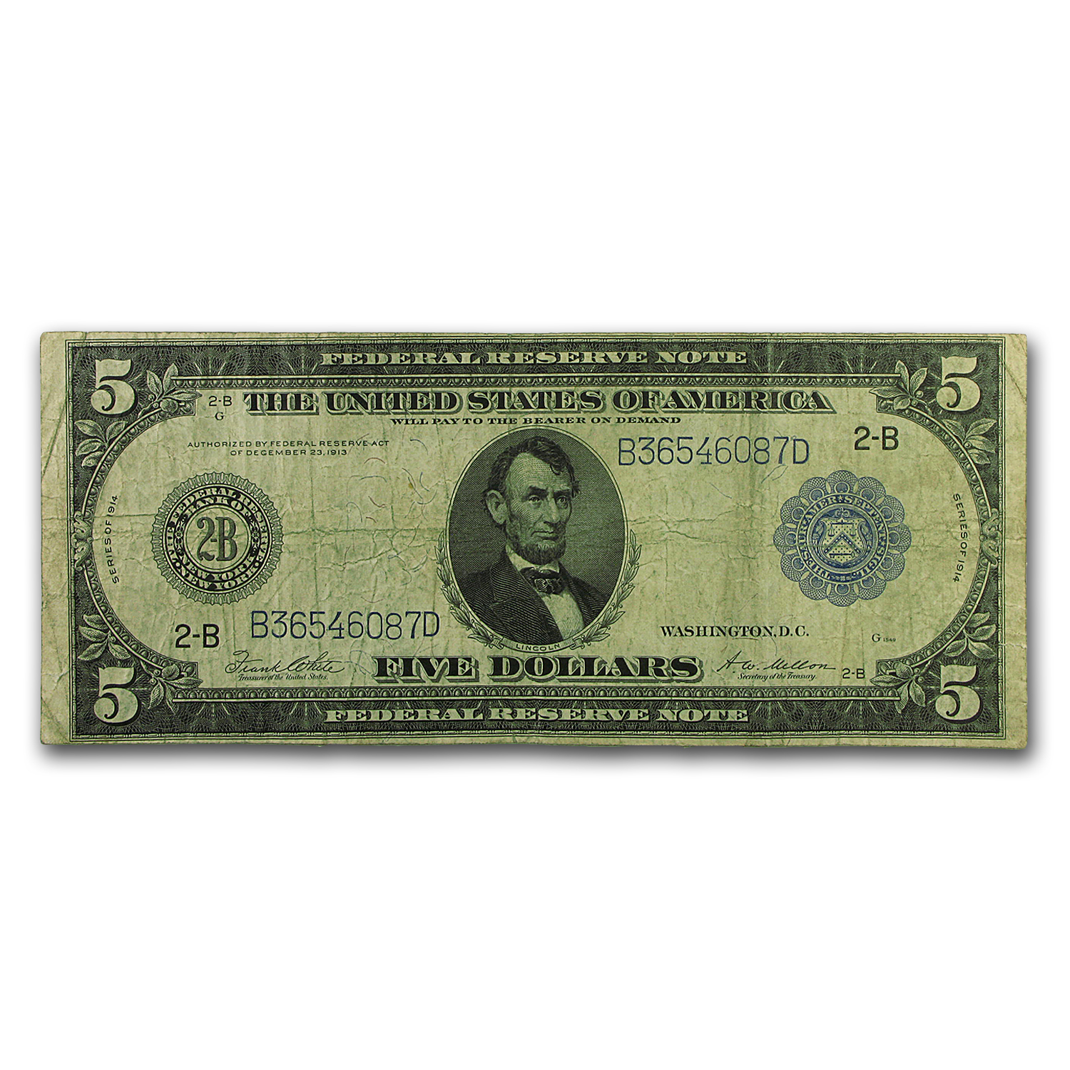 1914 (B-New York) $5.00 FRN Fine