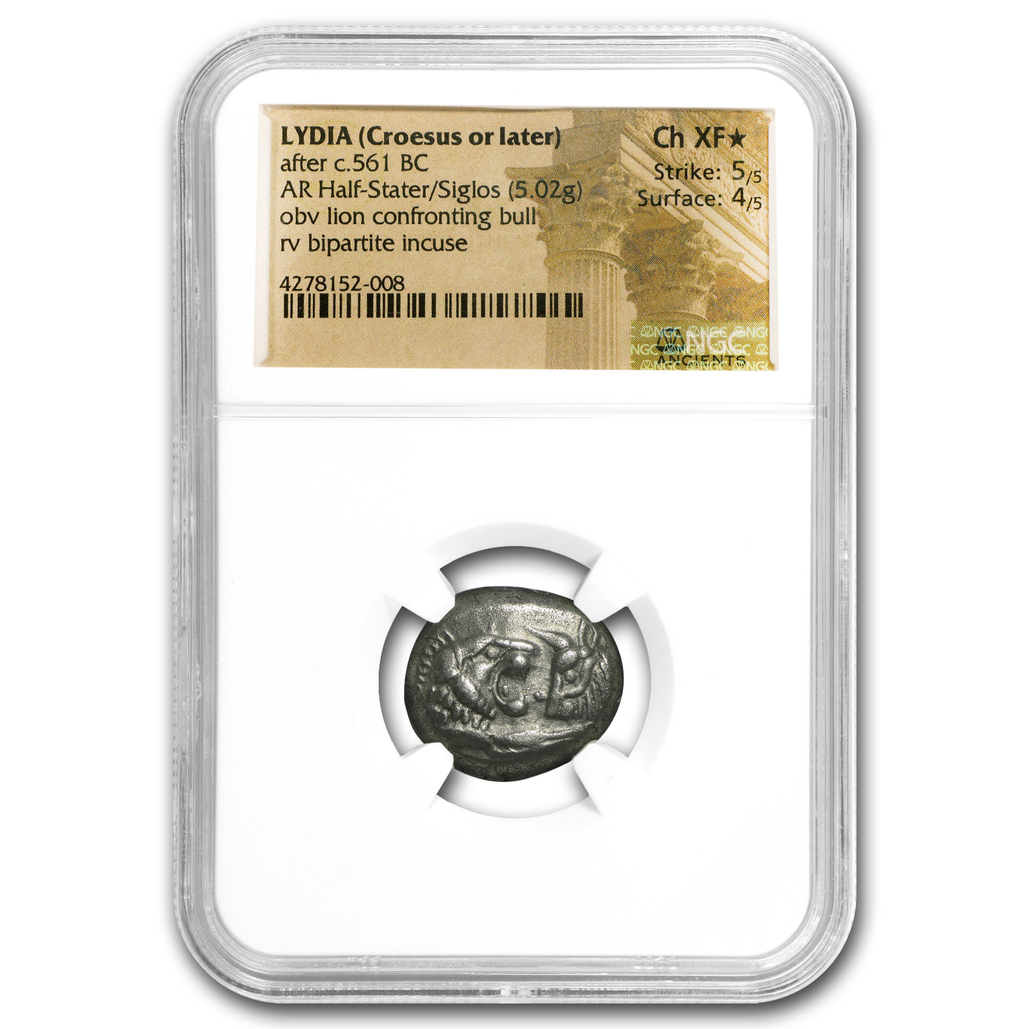 Lydian Silver Half Stater Croesus (561-546 BC) CH XF* NGC
