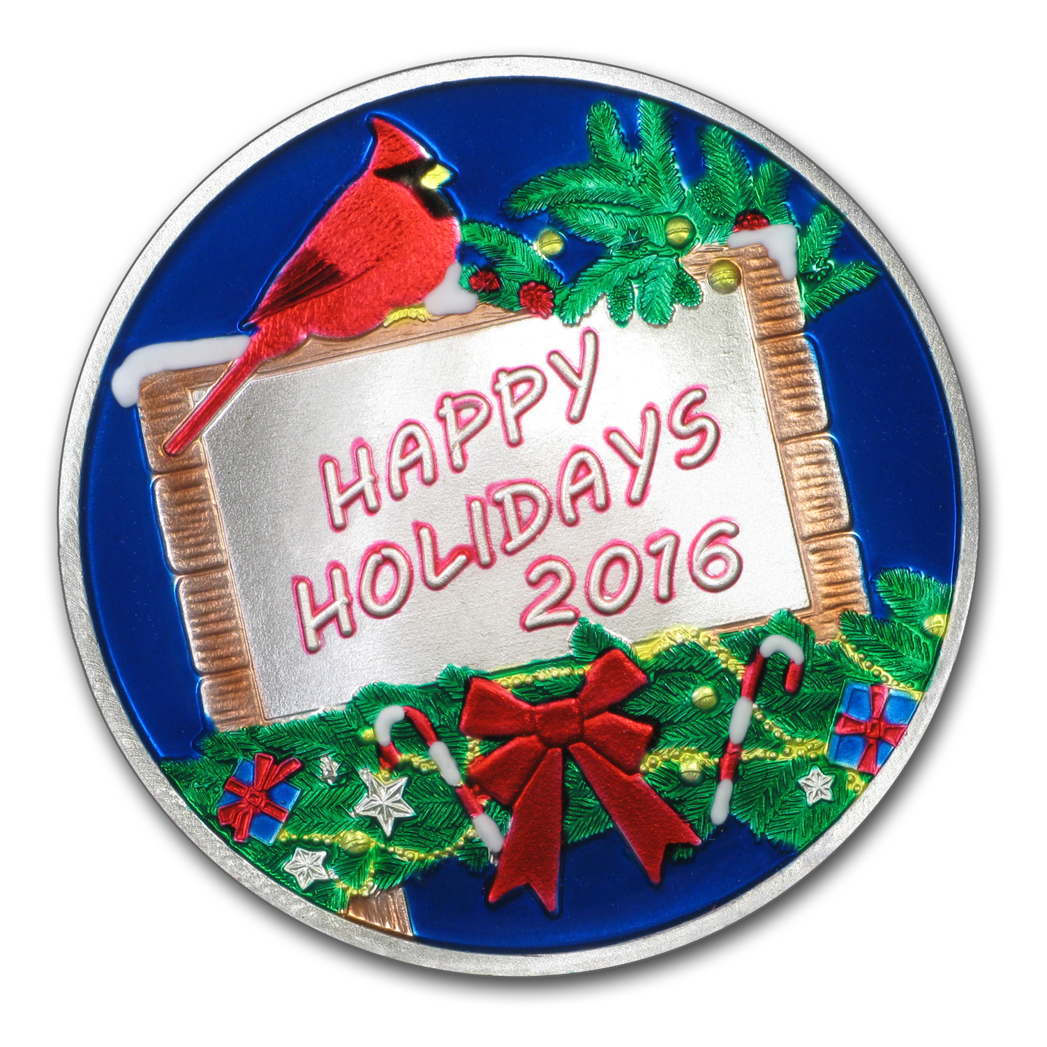 1 oz Silver Round - Happy Holidays (Enameled, w/Blue Pouch/Cap)