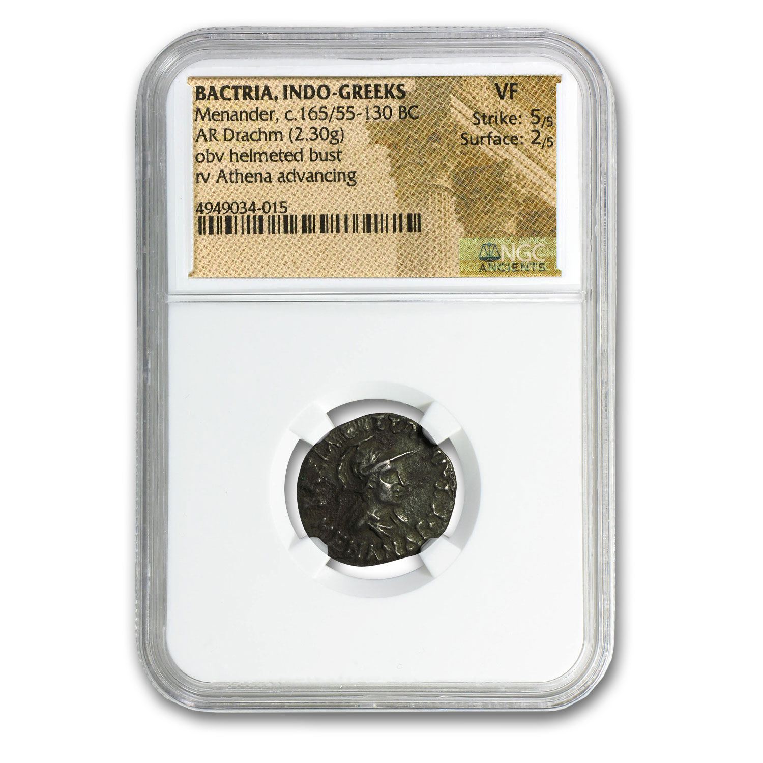 Bactria Indo-Greeks Menander AR Drachm (165/55-130 BC) VF NGC