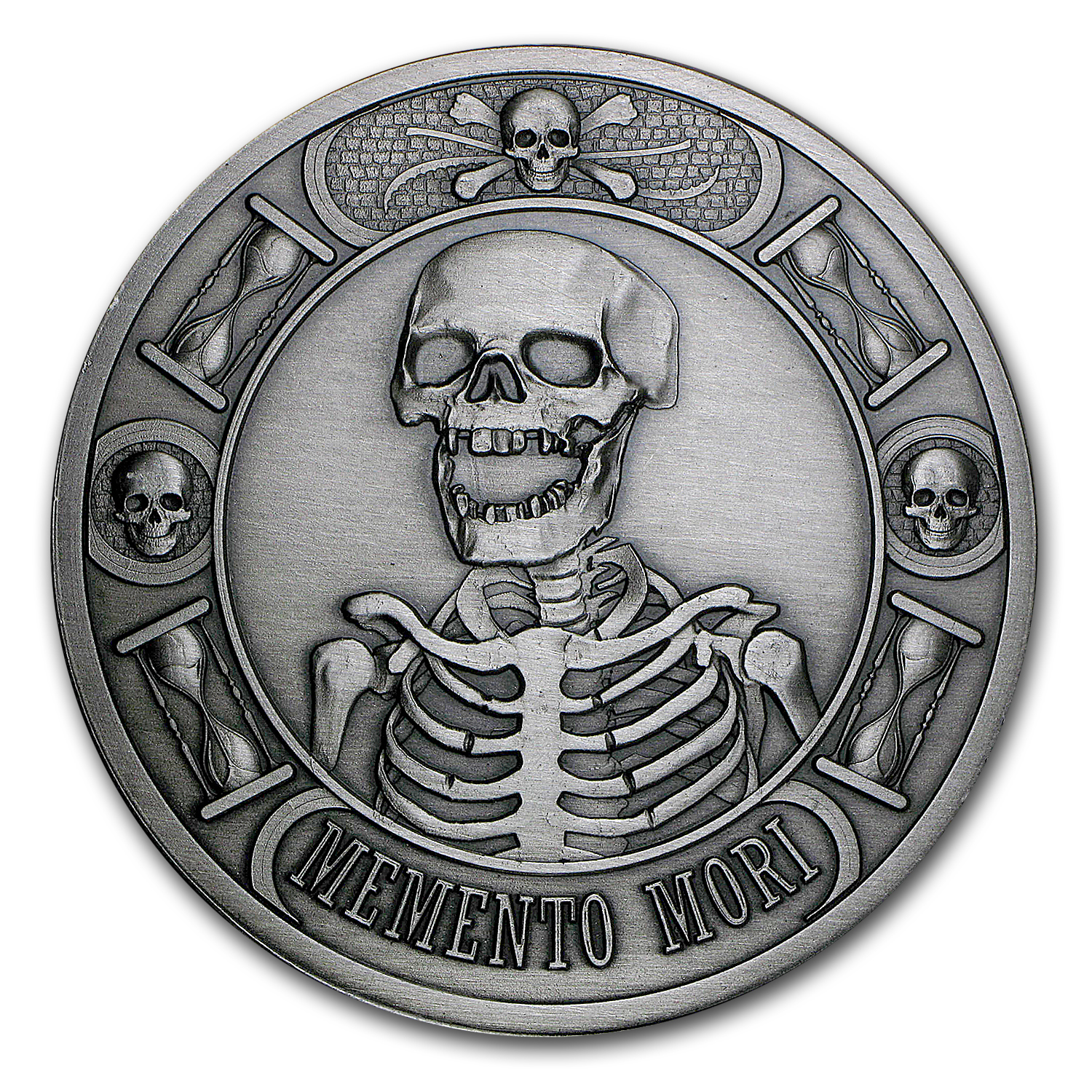 5 Oz Silver Round Memento Mori Antique Finish 5 Oz