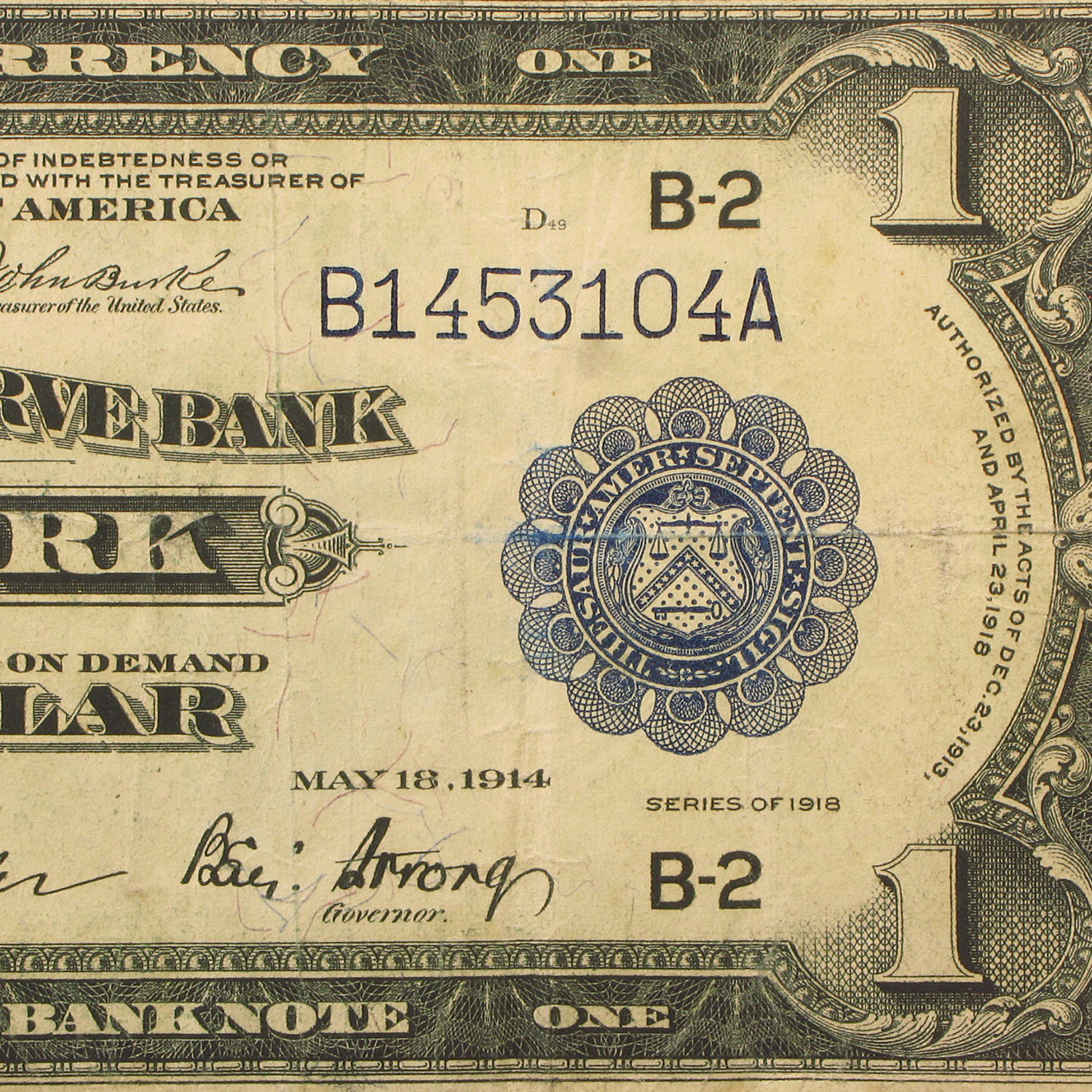 1918 (B-New York) $1.00 FRBN Cull