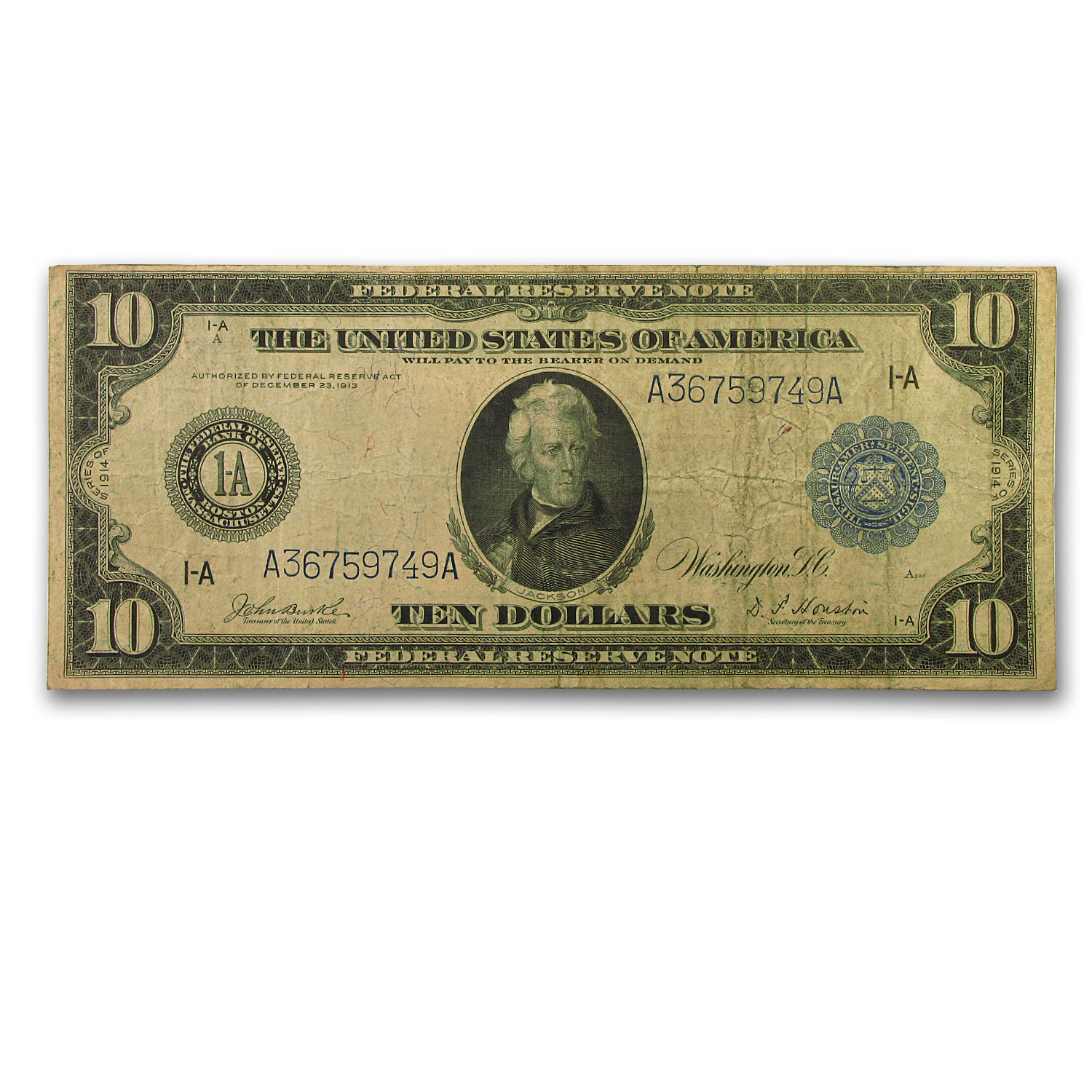 1914 (A-Boston) $10 FRN Very Good
